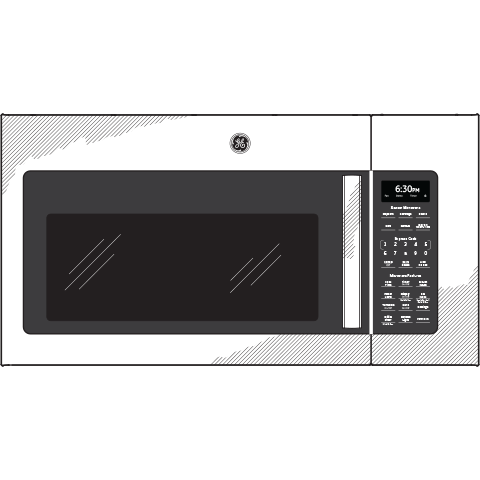 Model: JNM7196BLTS | GE GE® 1.9 Cu. Ft. Over-the-Range Sensor Microwave Oven with Recirculating Venting