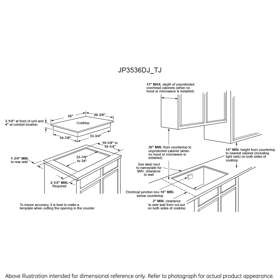 "Model: JP3536TJWW | GE GE® 36"" Built-In Knob Control Electric Cooktop"