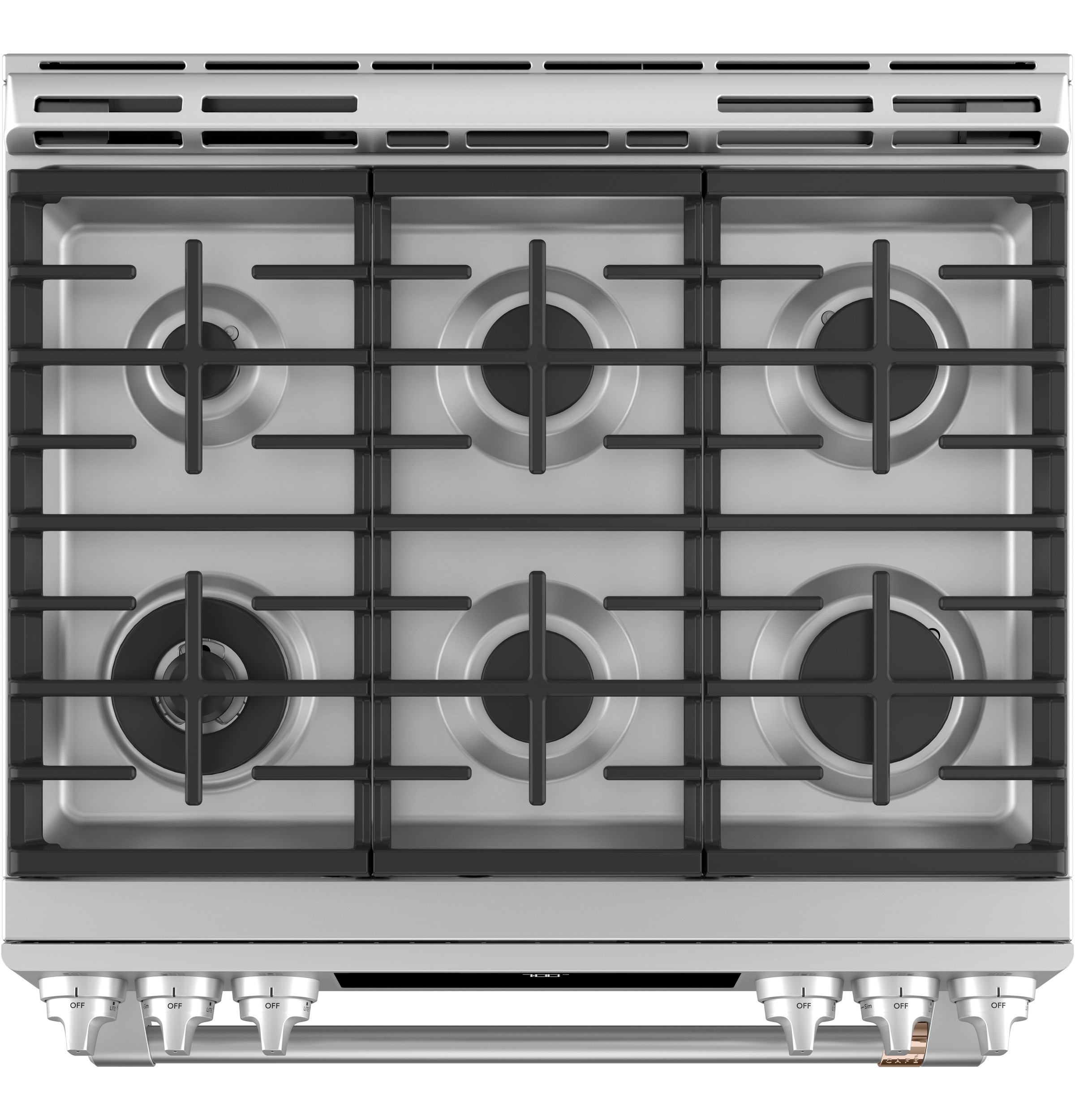 "Model: CGS700P2MS1 | Cafe Café™ 30"" Smart Slide-In, Front-Control, Gas Range with Convection Oven"