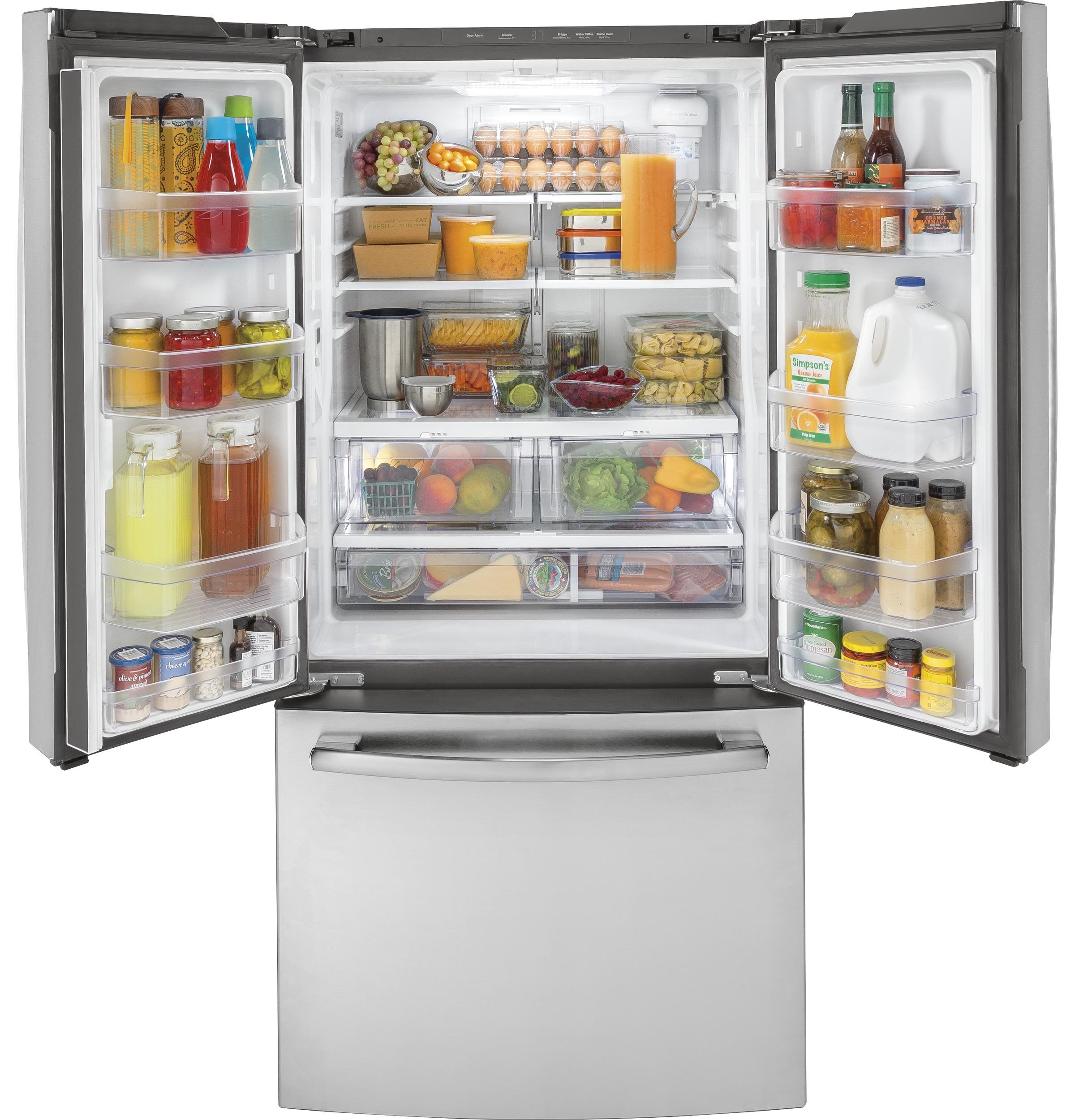 Model: GWE19JSLSS | GE® ENERGY STAR® 18.6 Cu. Ft. Counter-Depth French-Door Refrigerator