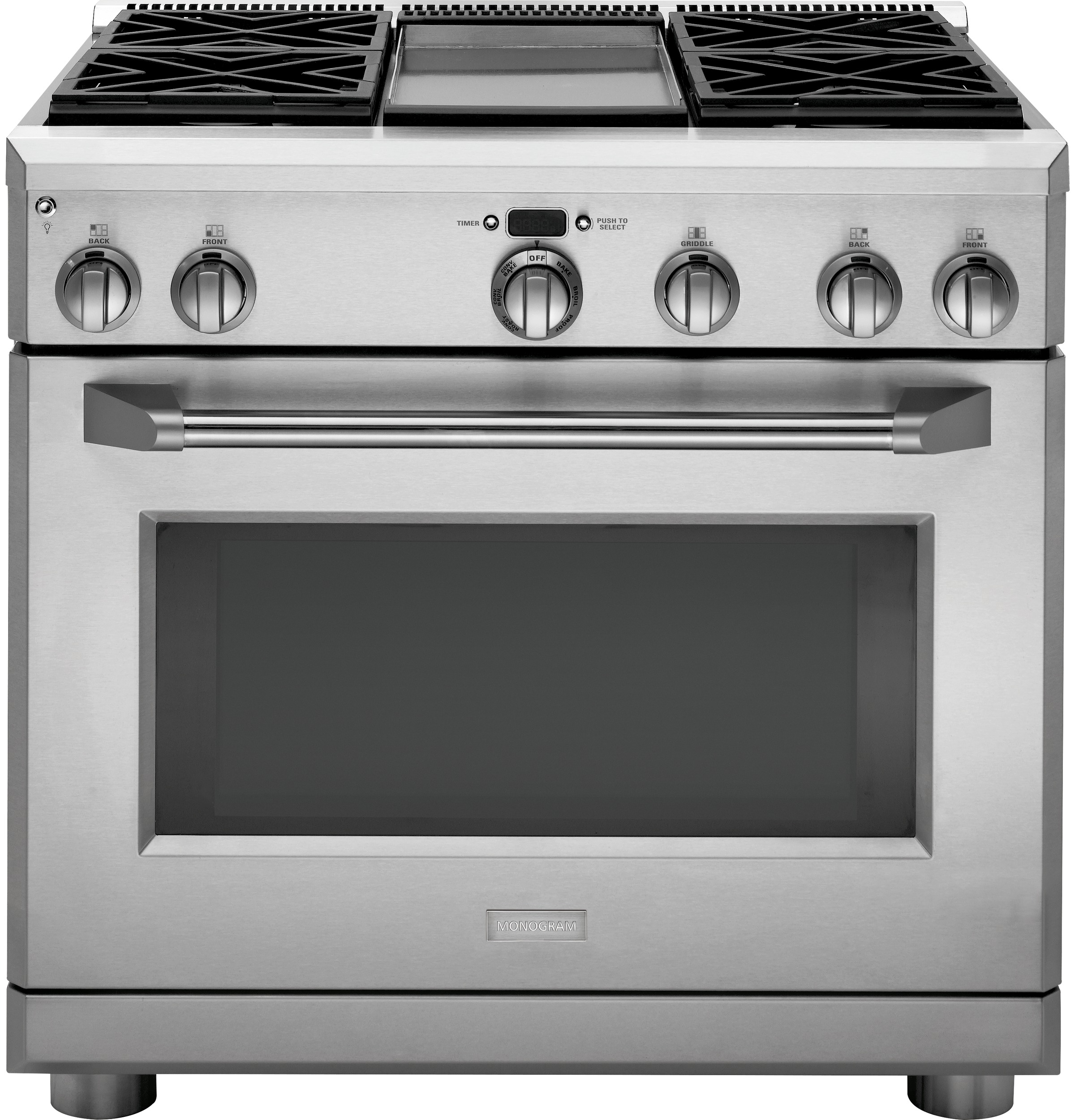 "Model: ZGP364NDRSS | Monogram Monogram 36"" All Gas Professional Range with 4 Burners and Griddle (Natural Gas)"