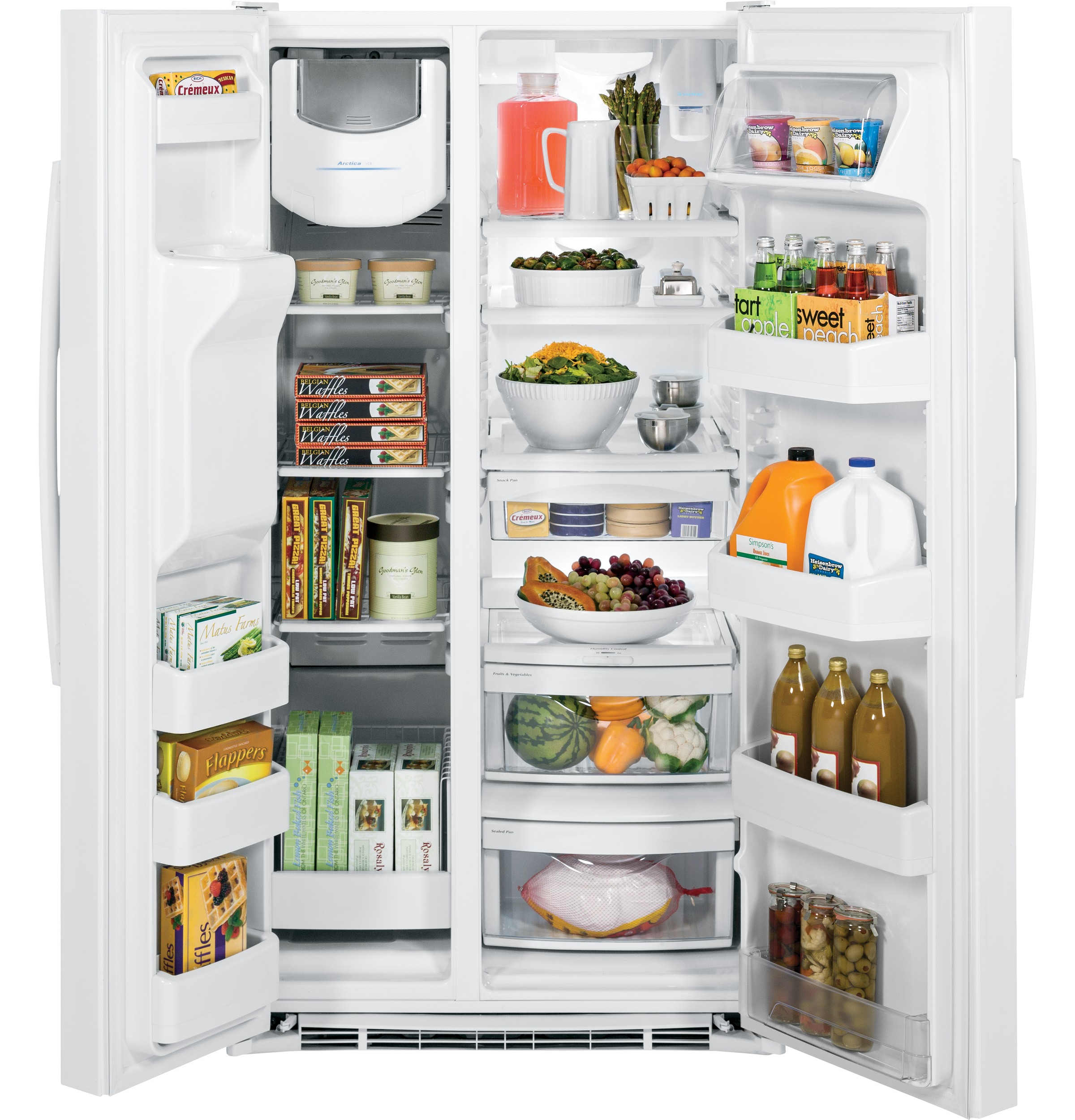 Model: GSS25GGHWW   GE GE® 25.3 Cu. Ft. Side-By-Side Refrigerator