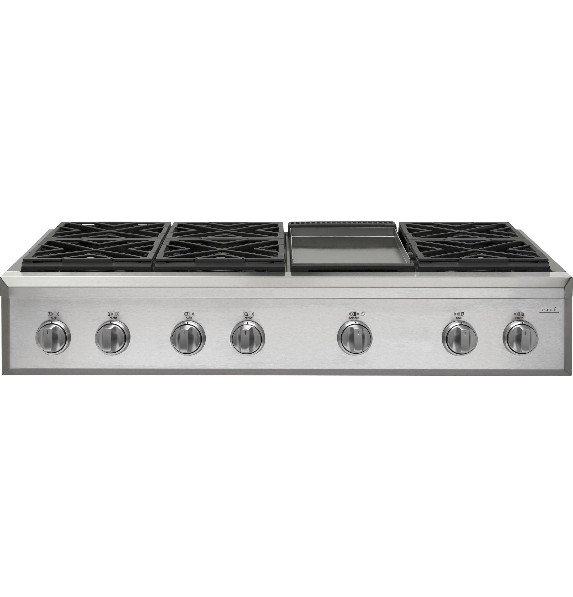 "Cafe Café™ 48"" Commercial-Style Gas Rangetop with 6 Burners and Griddle (Natural Gas)"