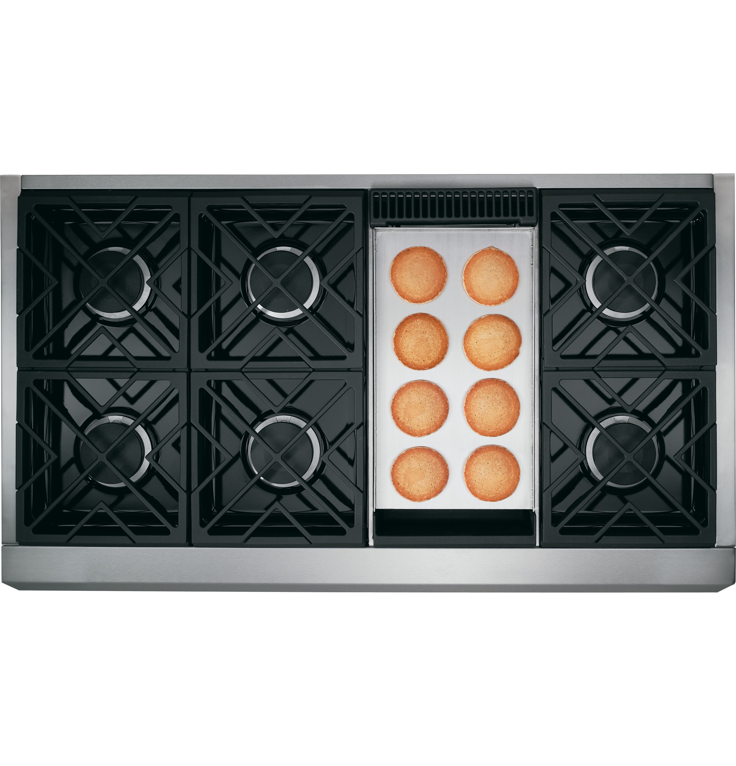 "Model: CGU486P2MS1 | Cafe Café™ 48"" Professional Gas Rangetop with 6 Burners and Griddle (Natural Gas)"