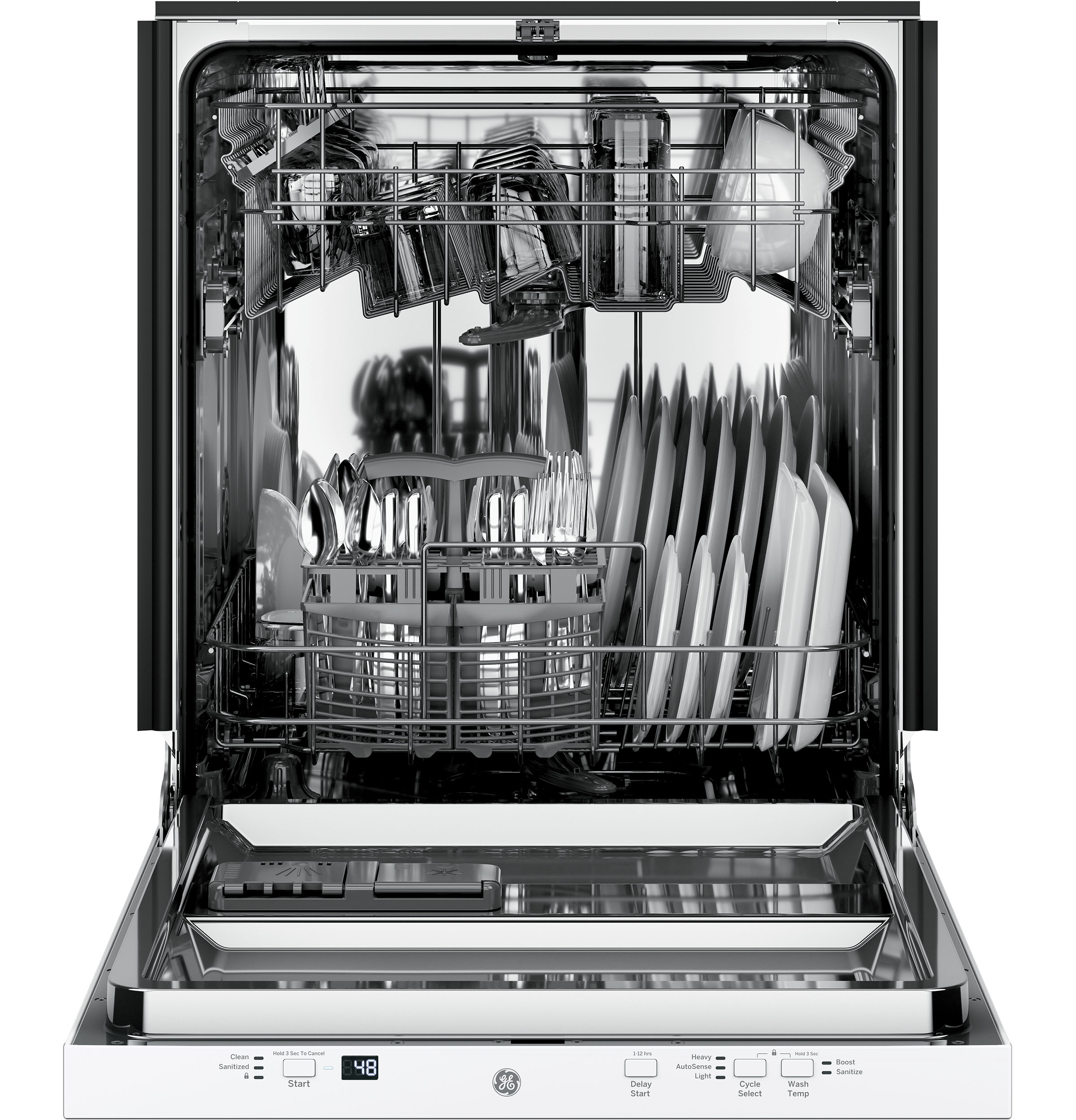 Model: GDT225SGLWW | GE GE® ADA Compliant Stainless Steel Interior Dishwasher with Sanitize Cycle