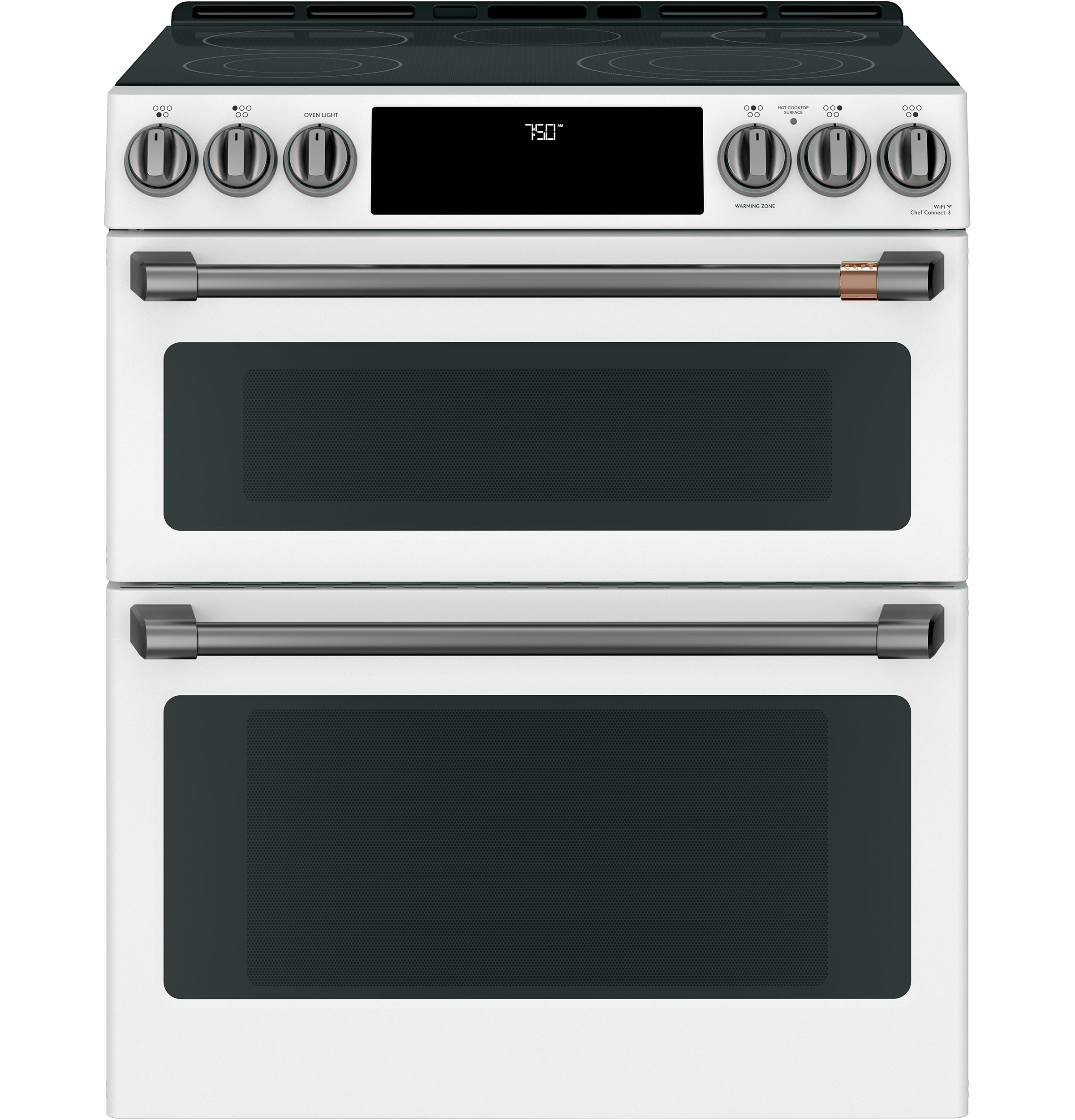 "Model: CES750P4MW2 | Cafe Café™ 30"" Smart Slide-In, Front-Control, Radiant and Convection Double-Oven Range"