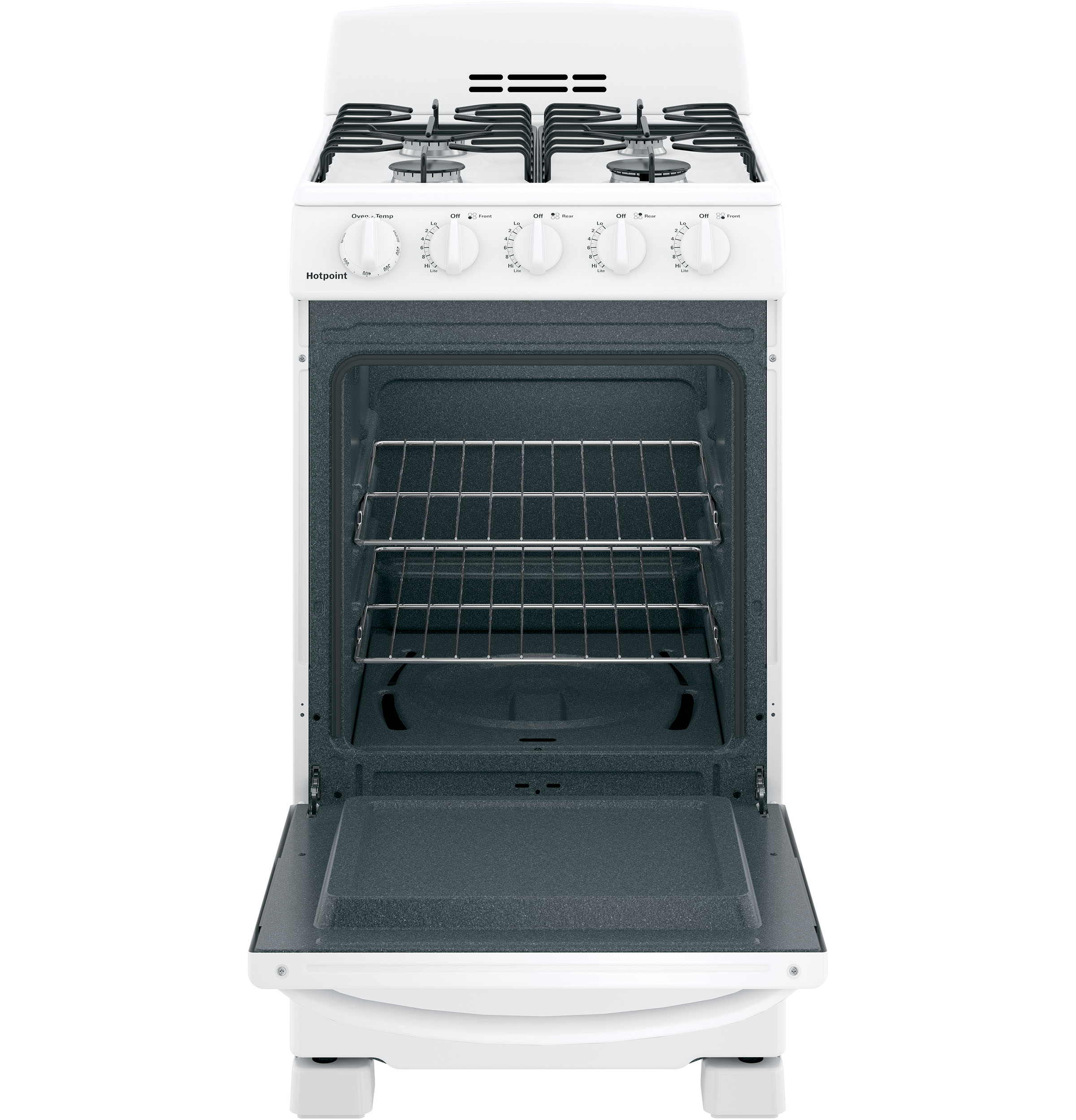 "Model: RGAS200DMWW | Hotpoint Hotpoint® 20"" Front-Control Free-Standing Gas Range with Sealed Burners"