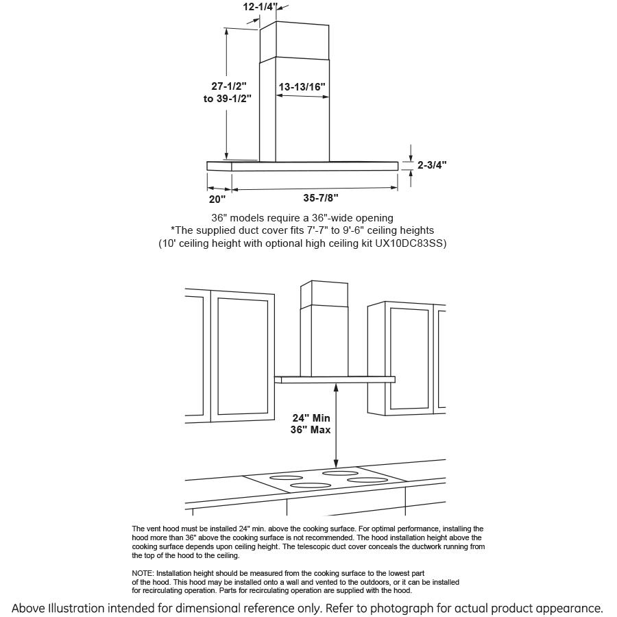 "Model: UVW8361SLSS | GE Profile 36"" Designer Wall Mount Hood w/ Dimmable LED Lighting"