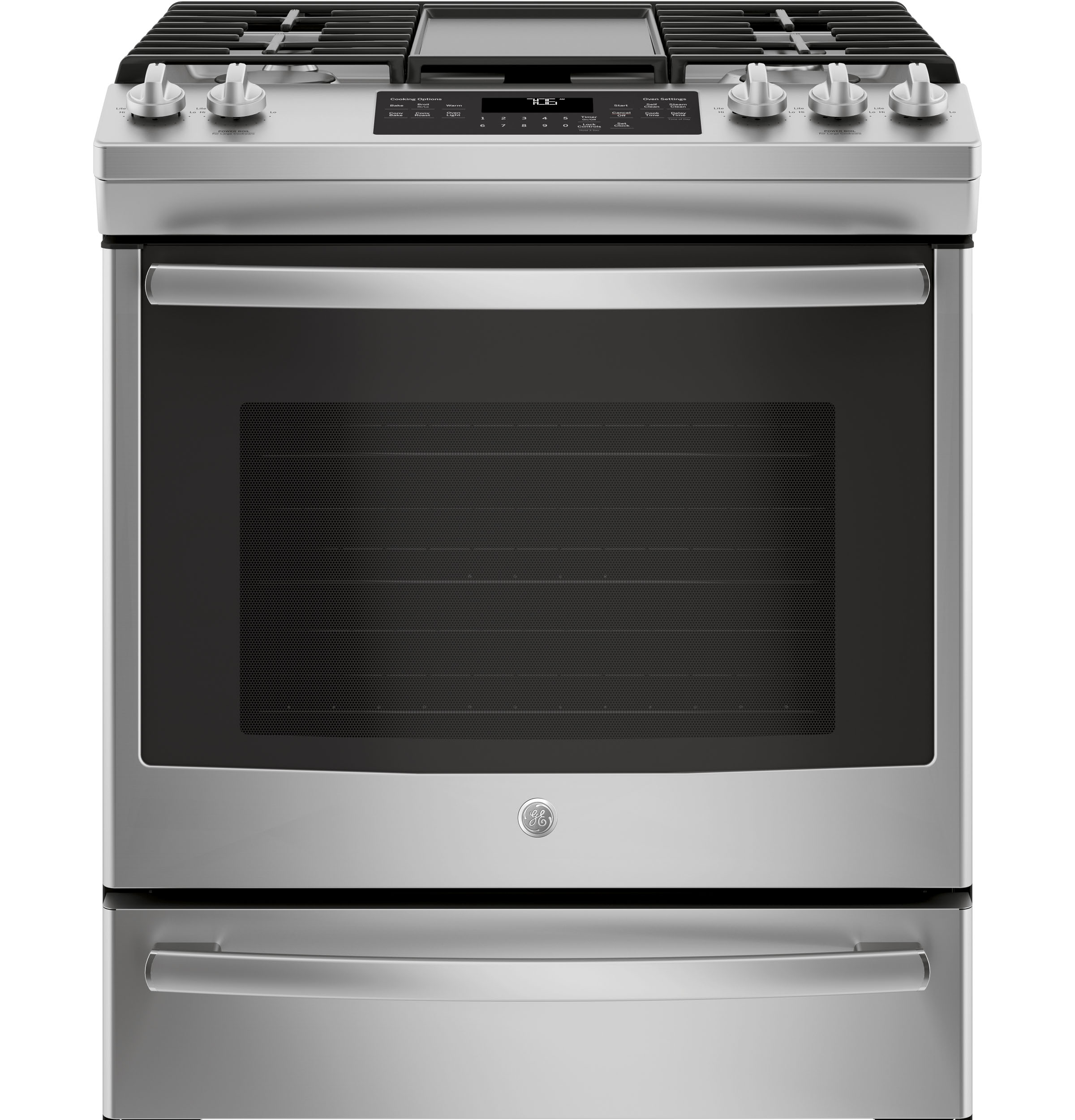"GE GE® 30"" Slide-In Front-Control Convection Gas Range"