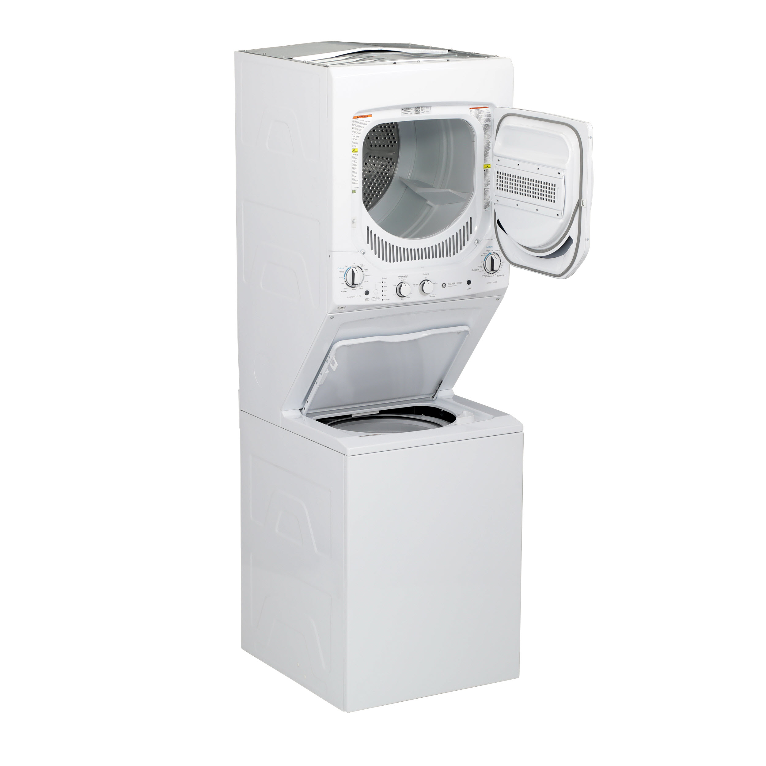 Model: GUD24ESSMWW | GE GE Unitized Spacemaker® 2.3 cu. ft. Capacity Washer with Stainless Steel Basket and 4.4 cu. ft. Capacity Electric Dryer