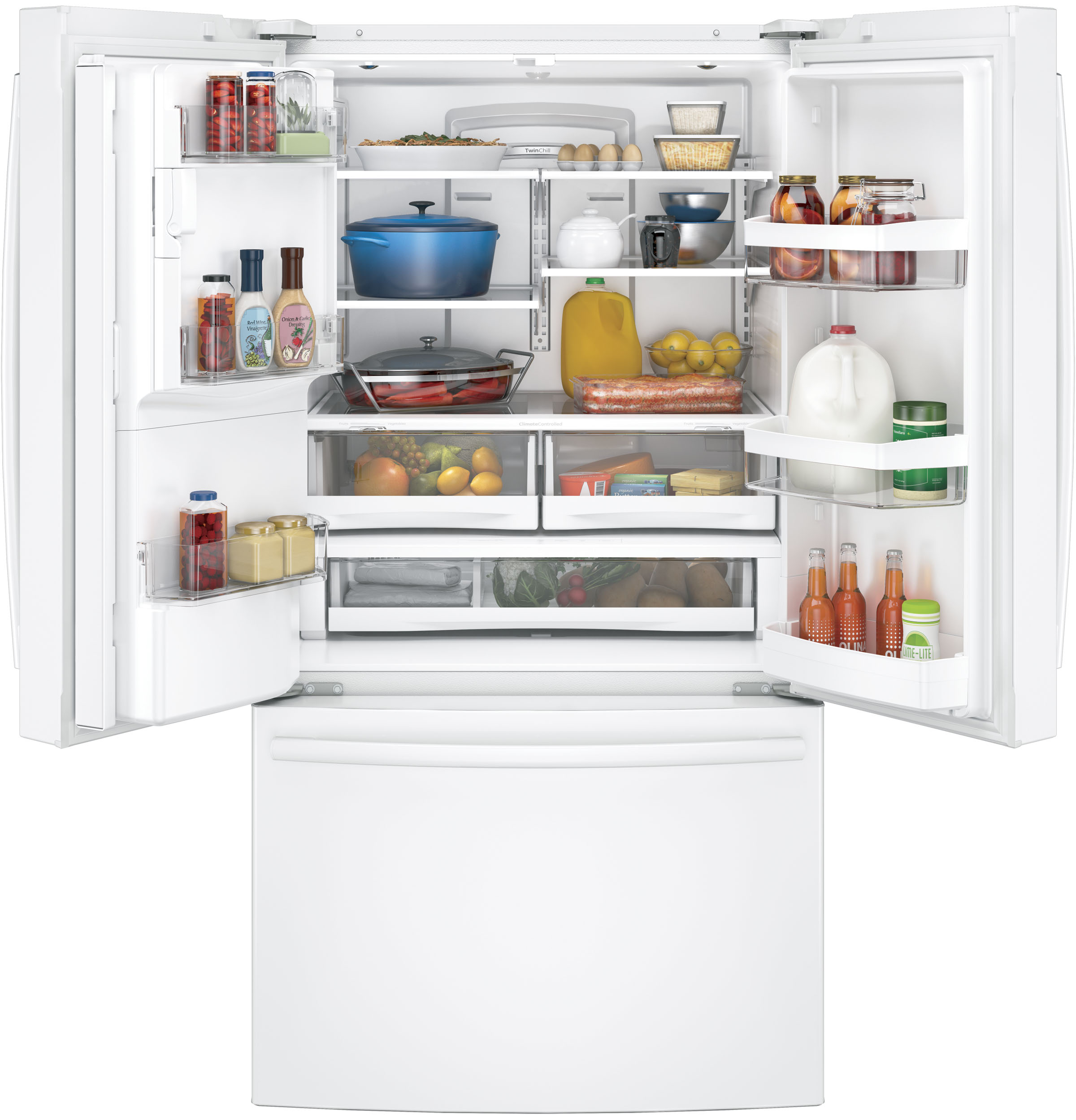Model: GFE28GGKWW | GE GE® ENERGY STAR® 27.8 Cu. Ft. French-Door Refrigerator
