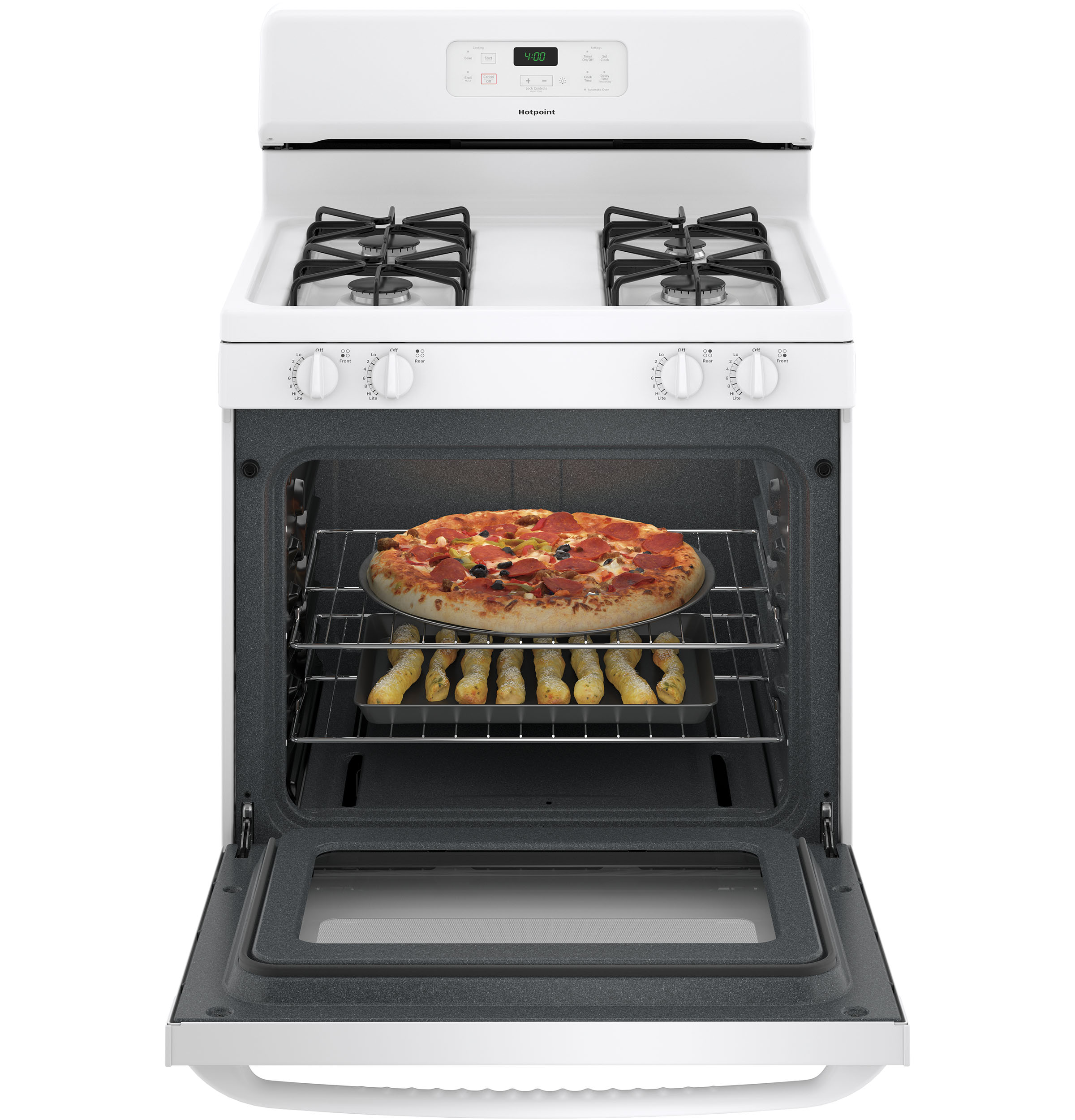 "Model: RGBS400DMWW | Hotpoint Hotpoint® 30"" Free-Standing Standard Clean Gas Range"