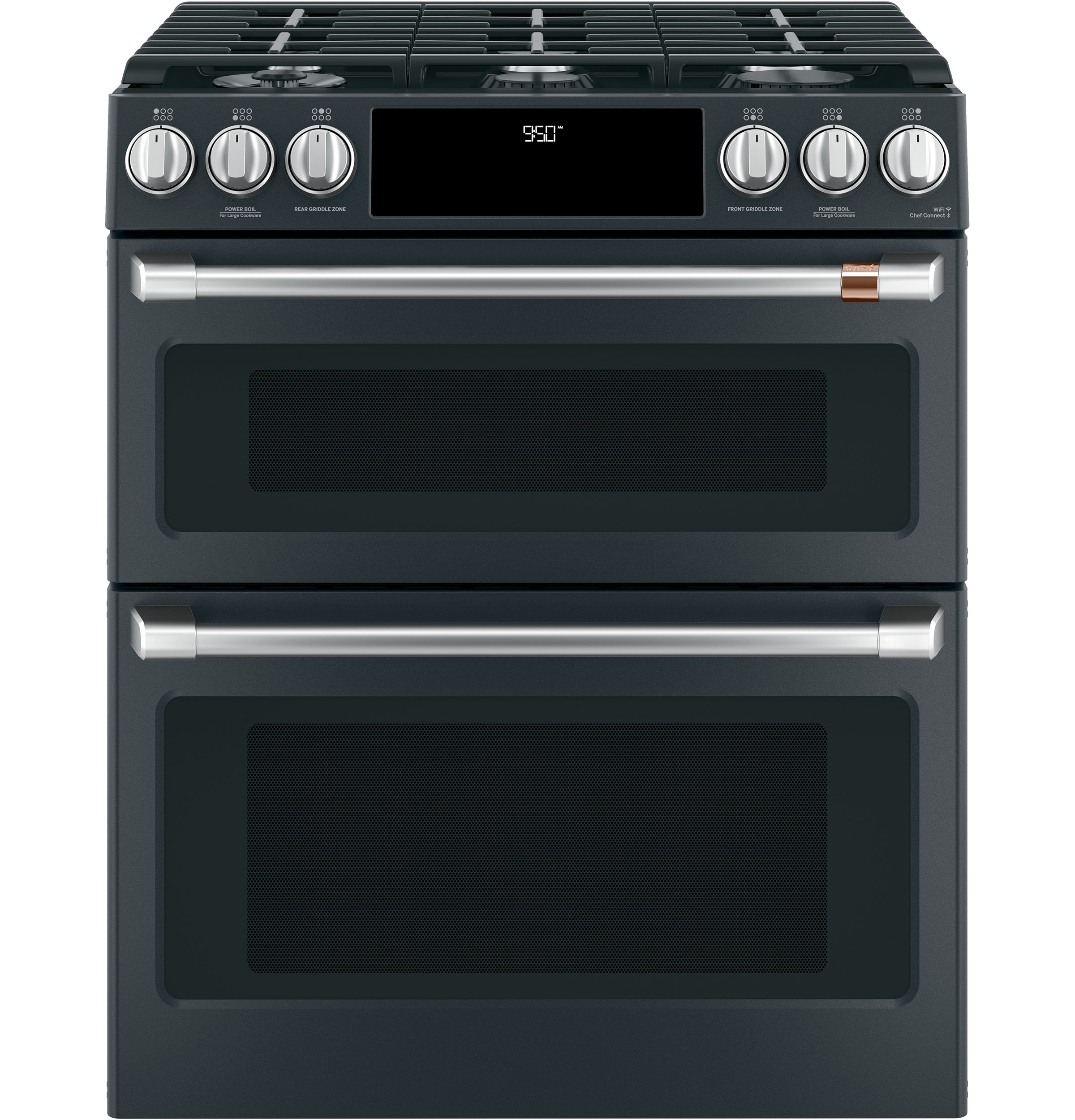 "Cafe Café™ 30"" Smart Slide-In, Front-Control, Dual-Fuel Double-Oven Range with Convection"