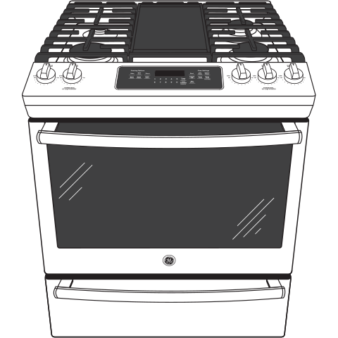"Model: JGS760FELDS | GE GE® 30"" Slide-In Front-Control Convection Gas Range"