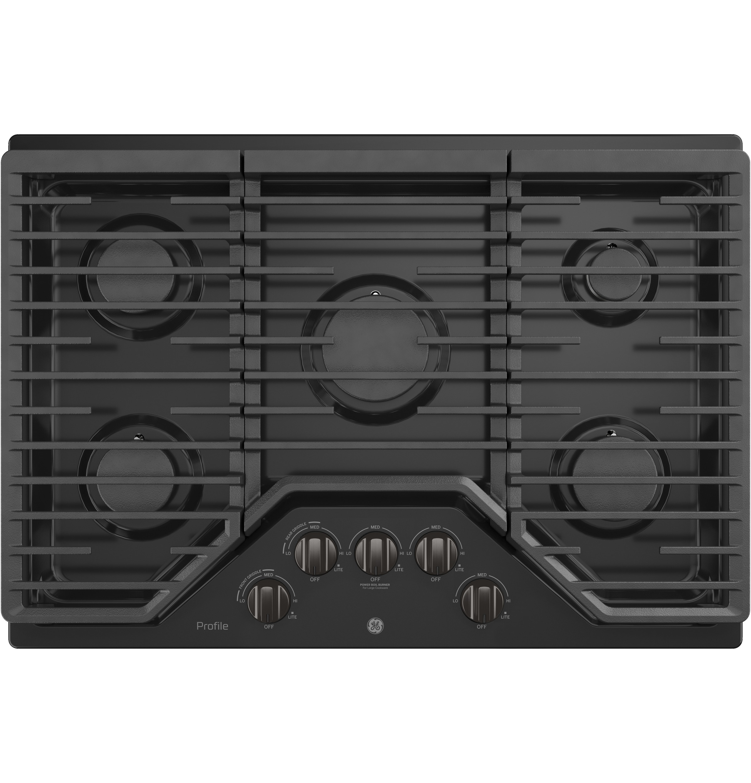 """GE Profile GE Profile™ 30"""" Built-In Gas Cooktop with 5 Burners and an Optional Extra-Large Cast Iron Griddle"""
