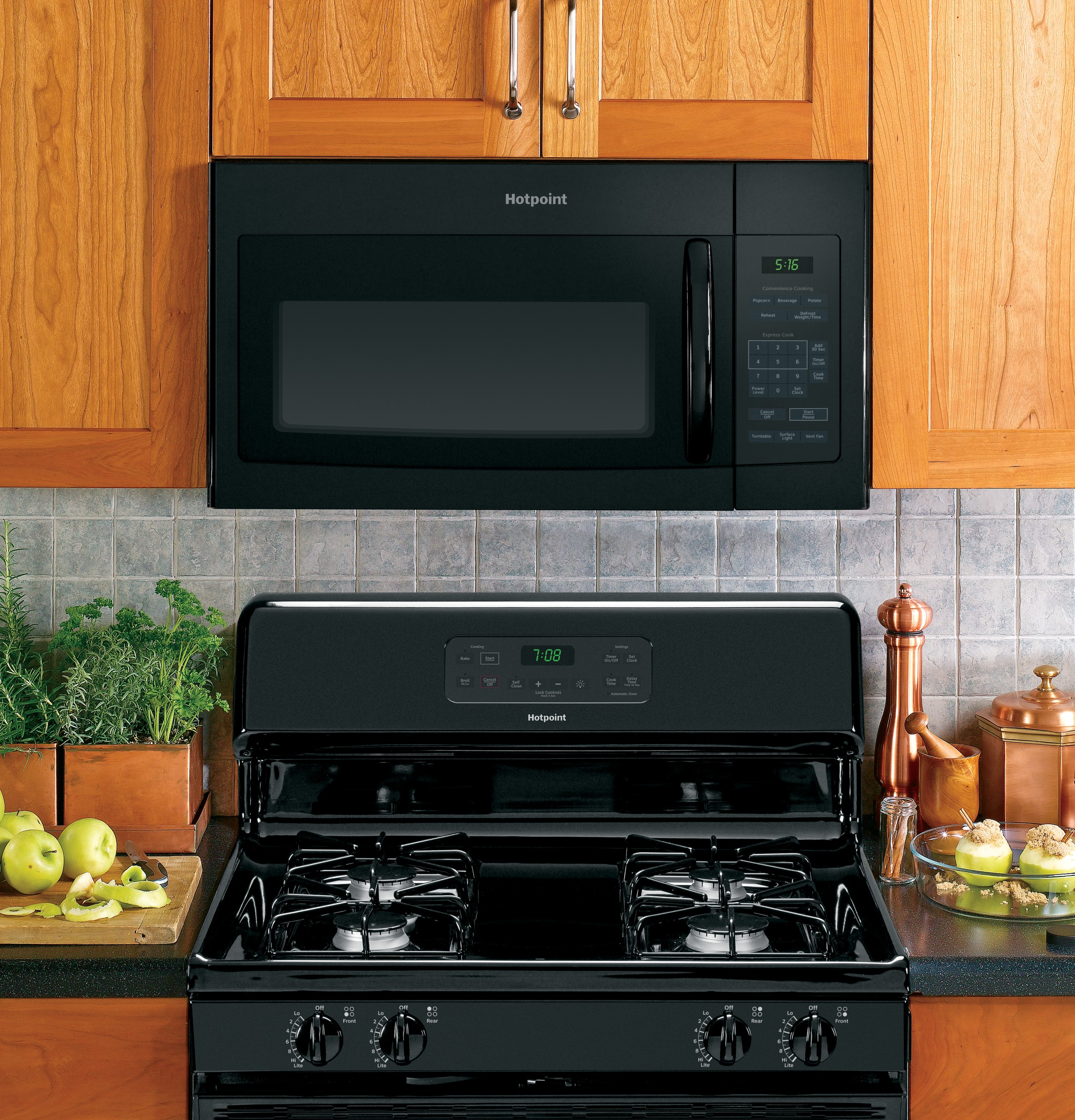 Model: RVM5160DHBB | Hotpoint Hotpoint® 1.6 Cu. Ft. Over-the-Range Microwave Oven