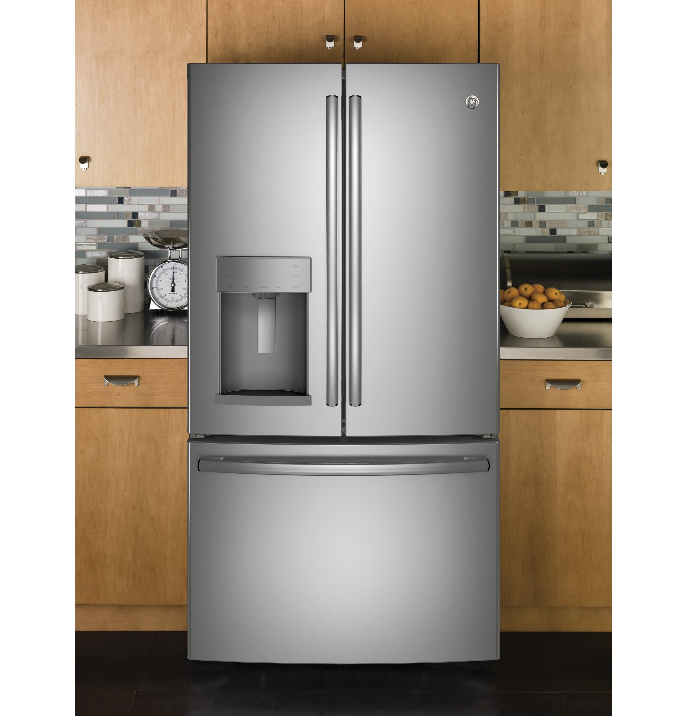 Model: GFD28GSLSS | GE GE® 27.7 Cu. Ft. French-Door Refrigerator with Door In Door