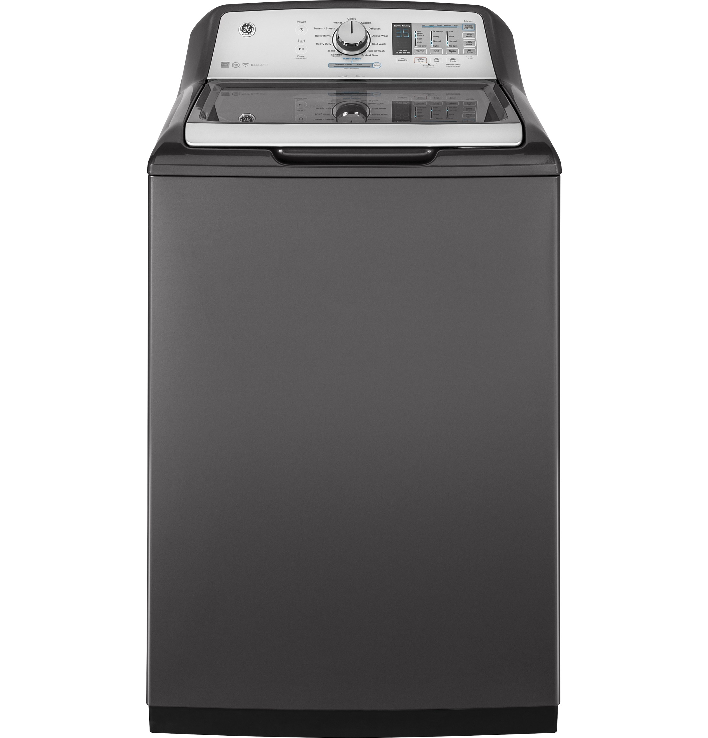 Model: GTW750CPLDG | GE GE® 5.0  cu. ft. Capacity Washer with Stainless Steel Basket