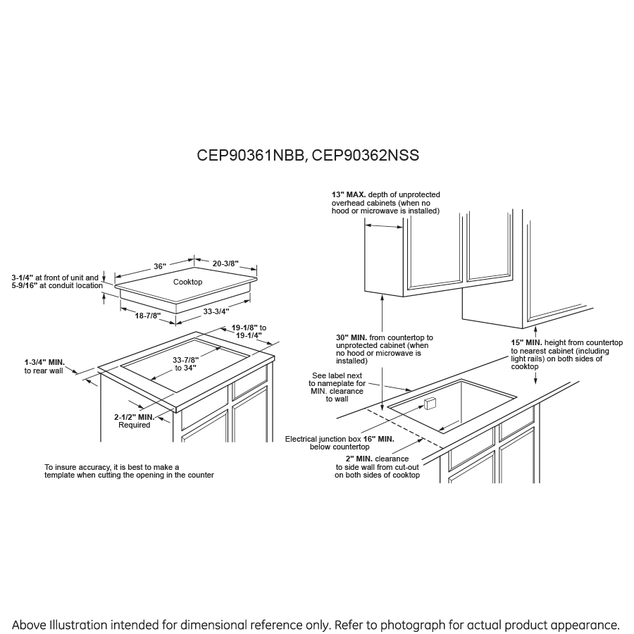 "Model: CEP90361NBB | Cafe Café™ 36"" Touch-Control Electric Cooktop"