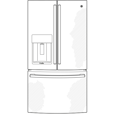 Model: PYE22KBLTS   GE Profile™ Series ENERGY STAR® 22.2 Cu. Ft. Counter-Depth French-Door Refrigerator with Hands-Free AutoFill