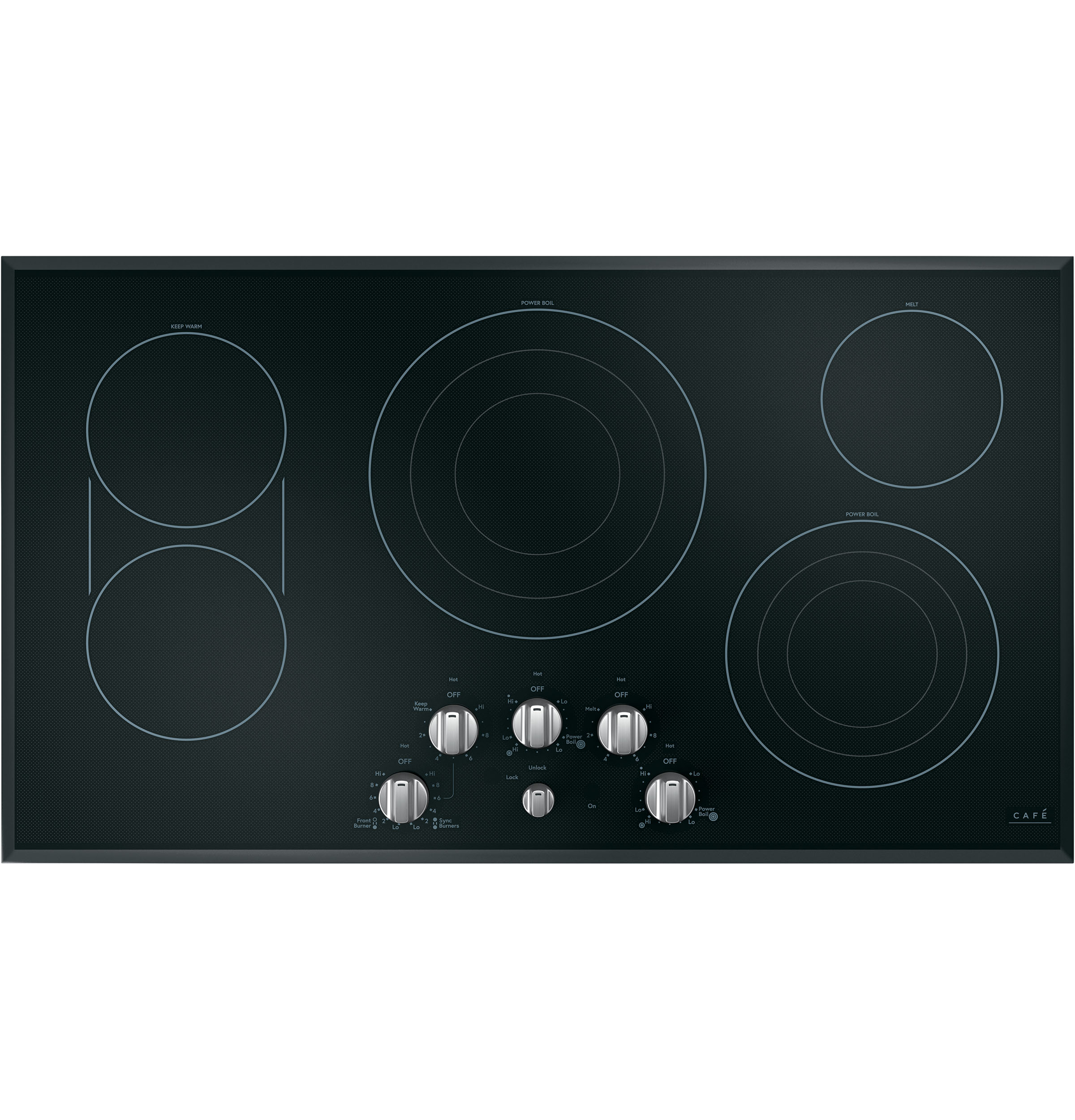 "Model: CEP70363MS2 | Cafe Café™ 36"" Knob-Control Electric Cooktop"