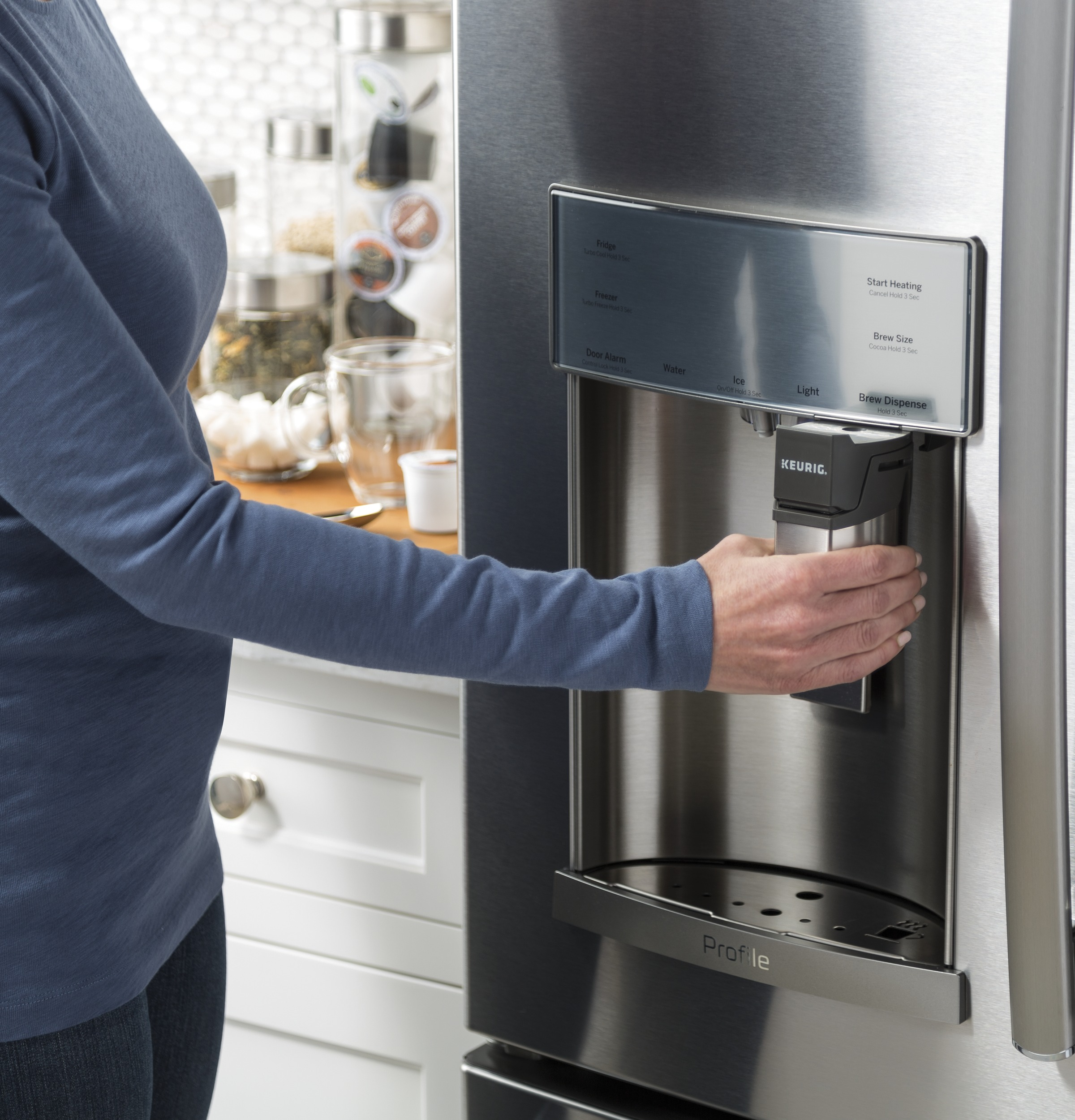 Model: PYE22PSKSS   GE Profile™ Series ENERGY STAR® 22.2 Cu. Ft. Counter-Depth French-Door Refrigerator with Keurig® K-Cup® Brewing System