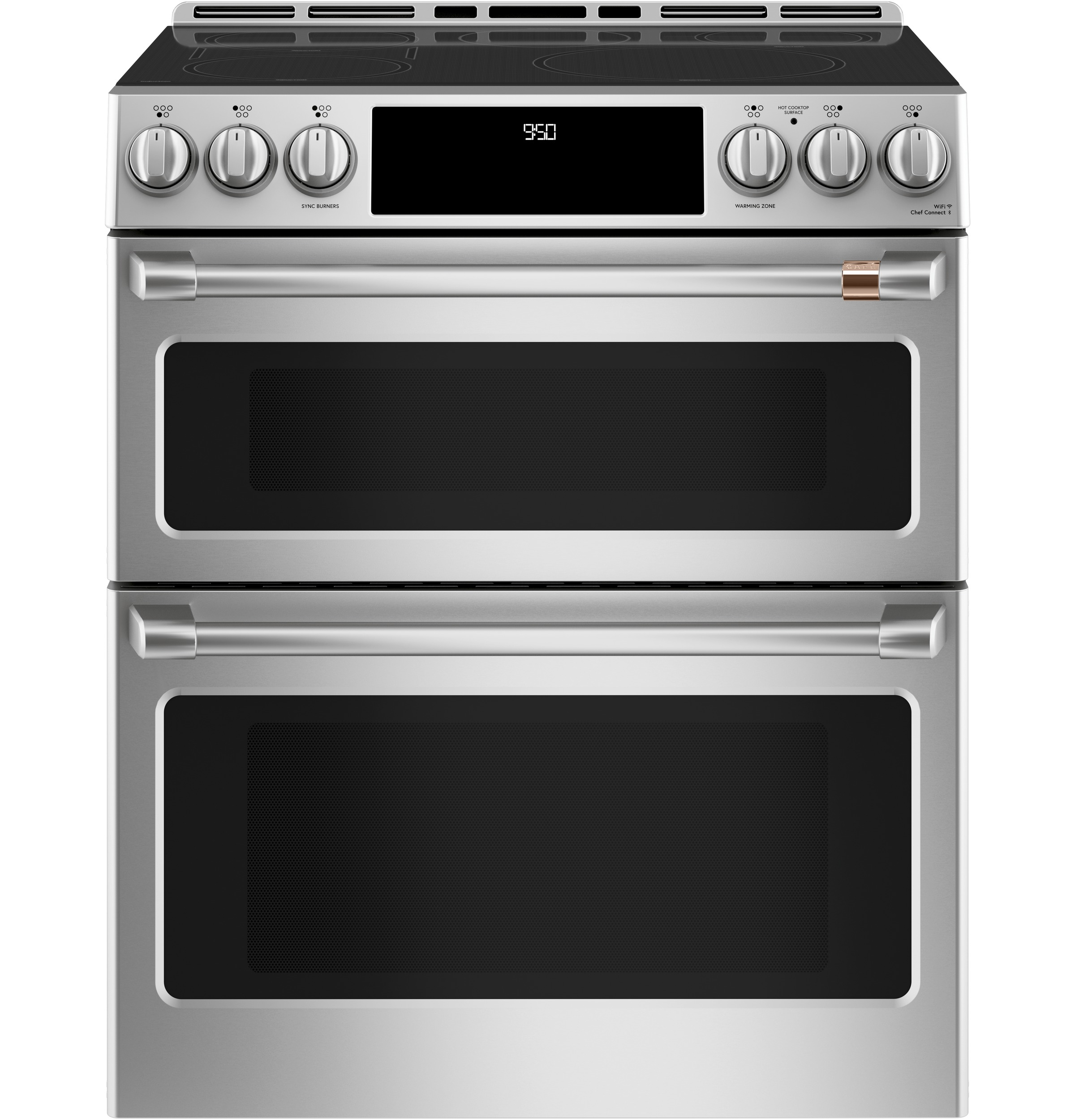 "Cafe Café™ 30"" Smart Slide-In, Front-Control, Induction and Convection Double-Oven Range"