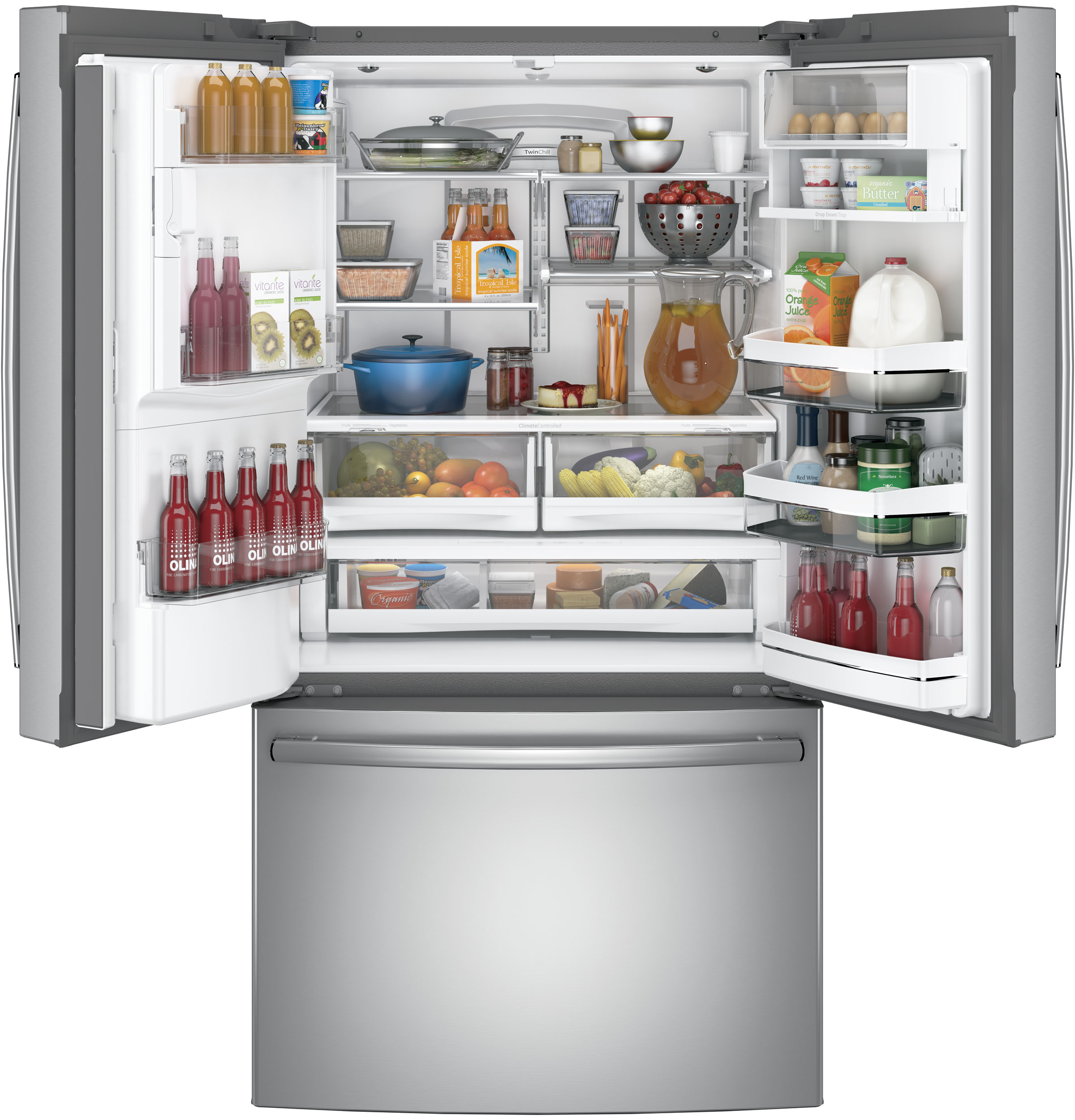 Model: PFE28KSKSS | GE Profile™ Series ENERGY STAR® 27.8 Cu. Ft. French-Door Refrigerator with Hands-Free AutoFill