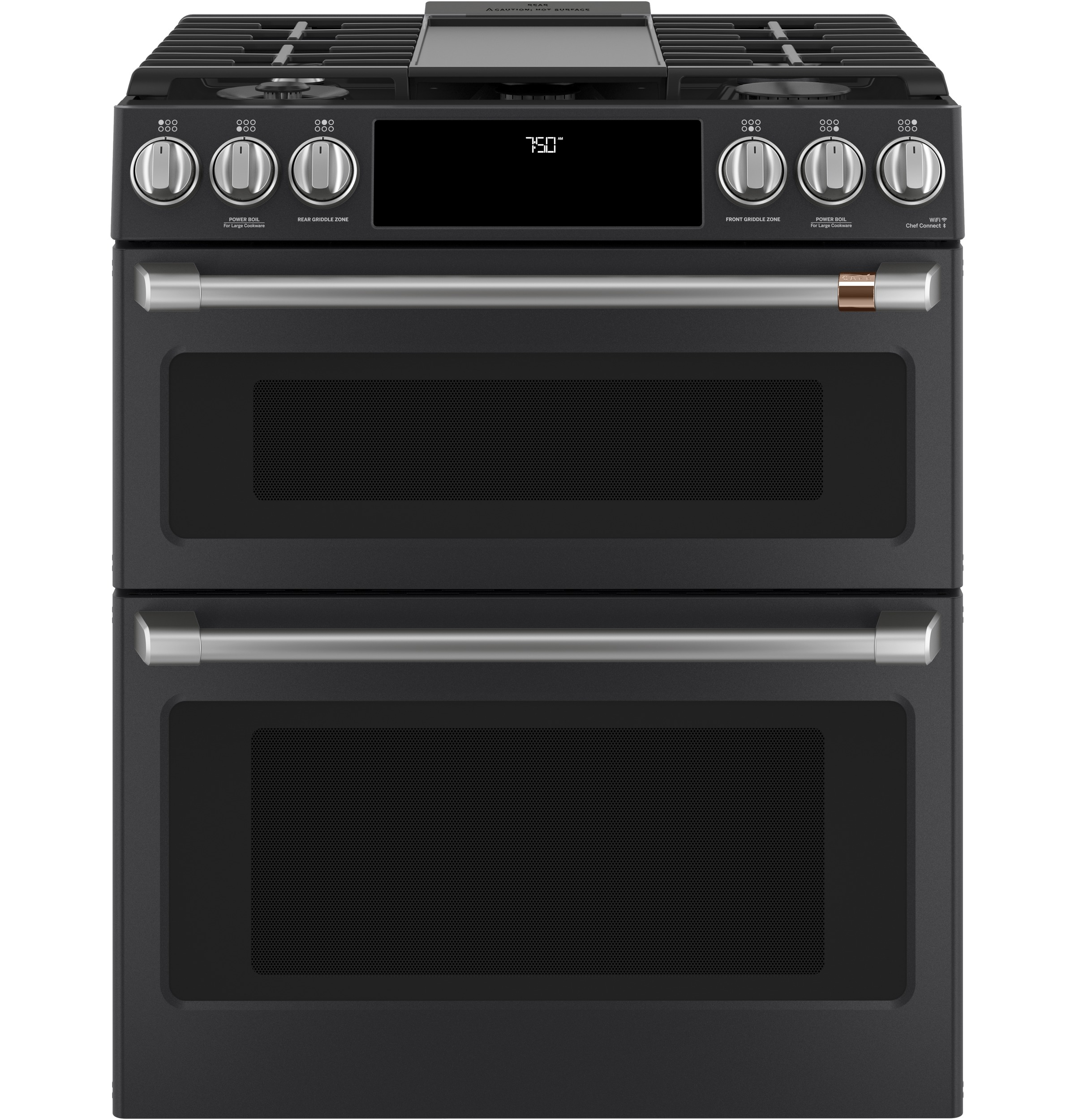 "Model: CGS750P3MD1 | Cafe Café™ 30"" Smart Slide-In, Front-Control, Gas Double-Oven Range with Convection"