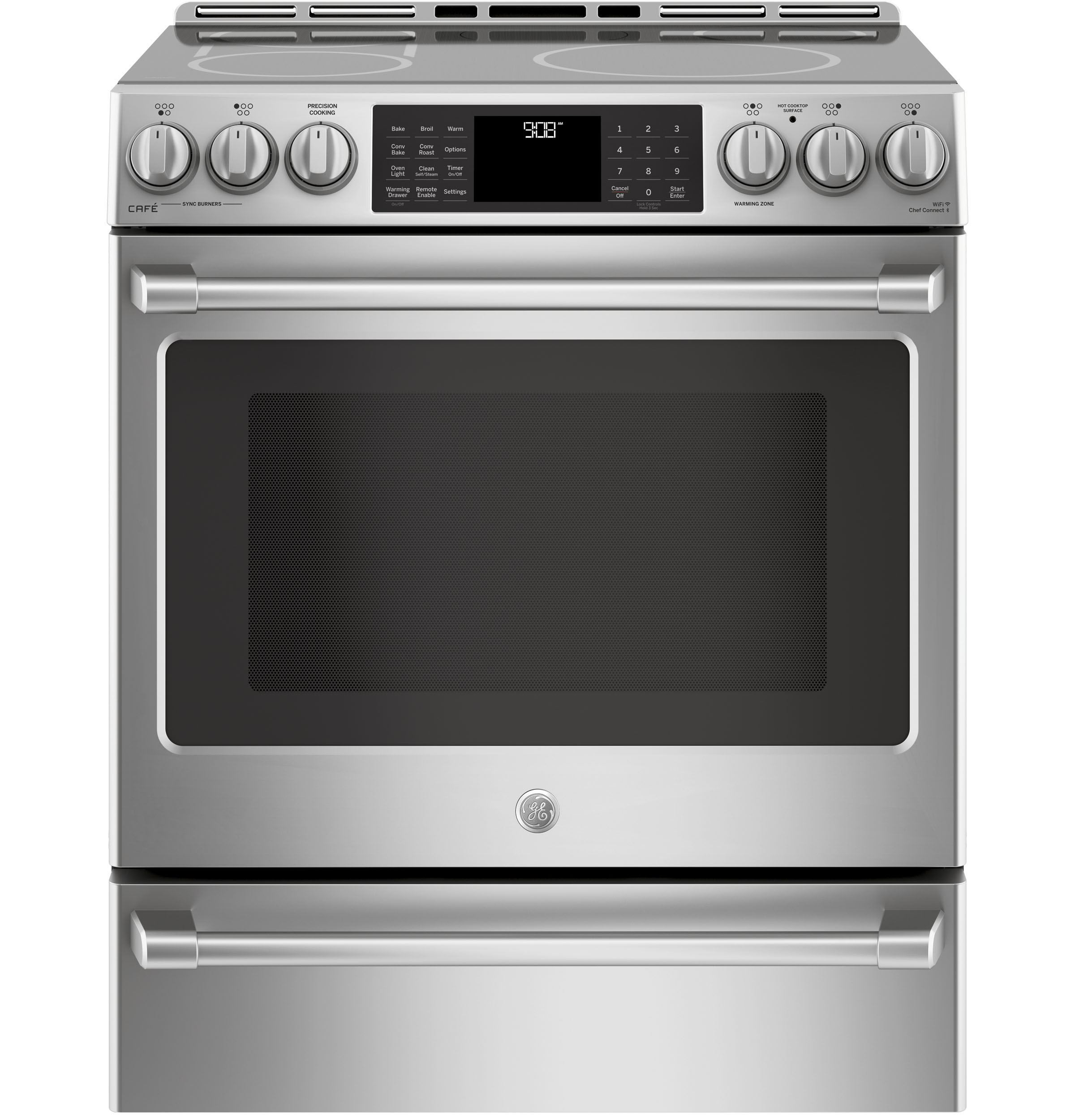 "GE Cafe GE Cafe™ Series 30"" Slide-In Front Control Induction and Convection Range with Warming Drawer"