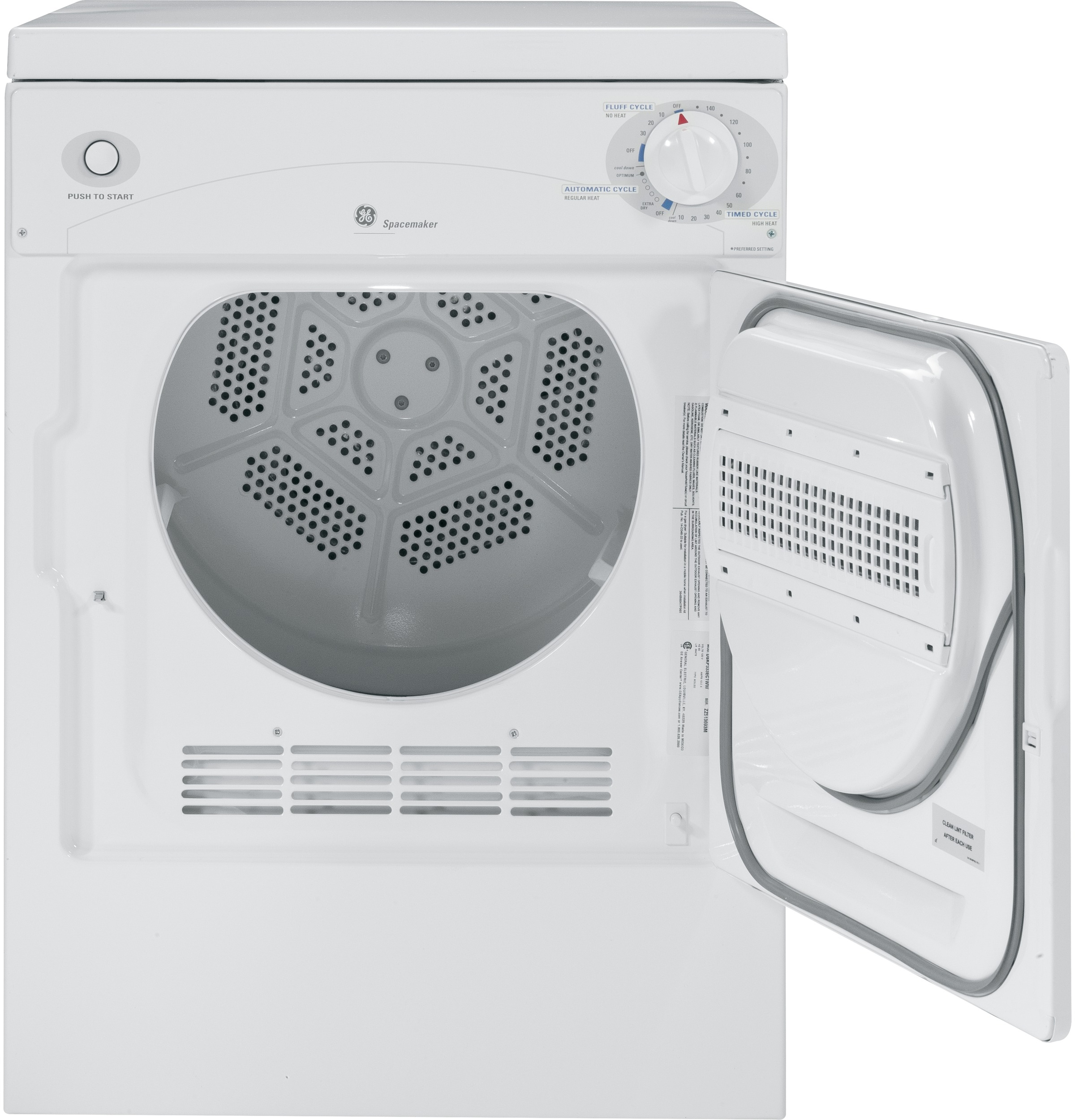 Model: DSKP333ECWW | GE GE Spacemaker® 120V 3.6 cu. ft. Capacity Portable Electric Dryer
