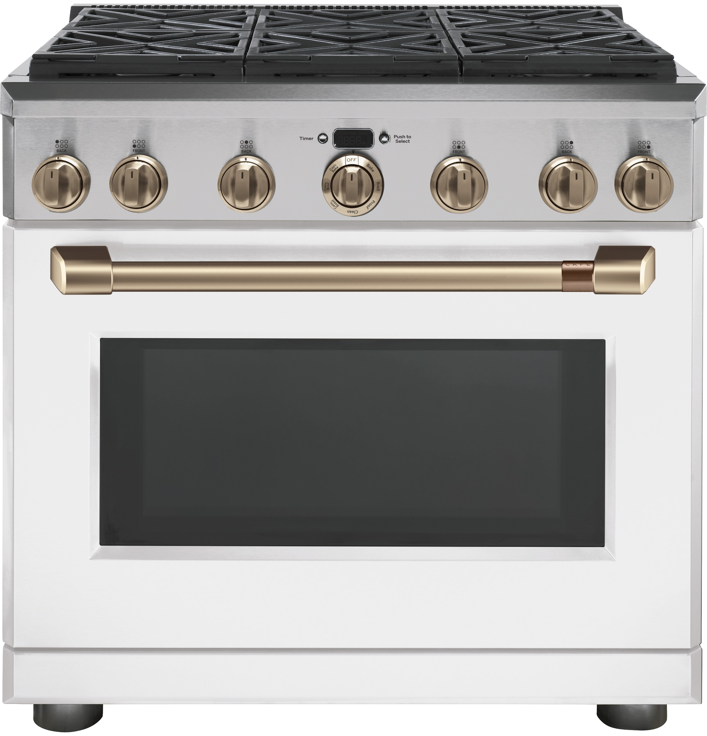 "Model: C2Y366P4MW2 | Cafe Café™ 36"" Dual-Fuel Professional Range with 6 Burners (Natural Gas)"