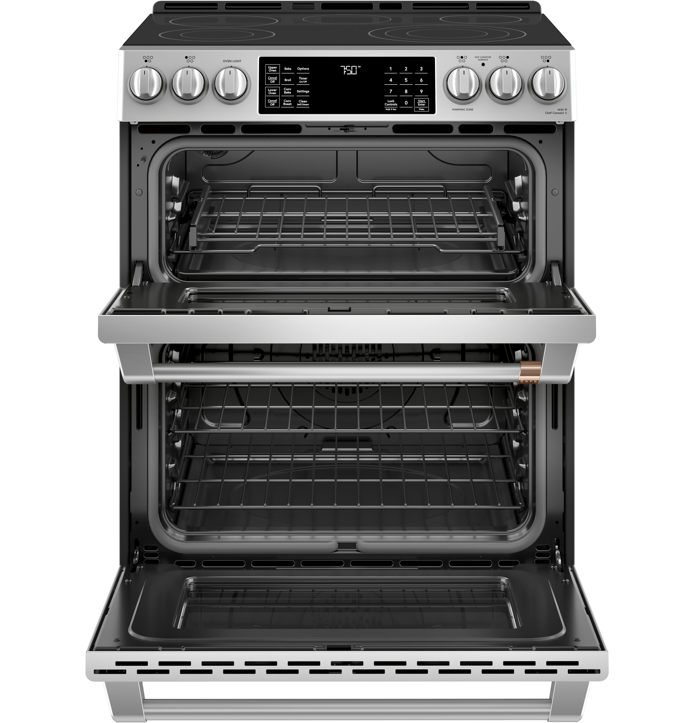 "Model: CES750P2MS1 | Cafe Café™ 30"" Smart Slide-In, Front-Control, Radiant and Convection Double-Oven Range"