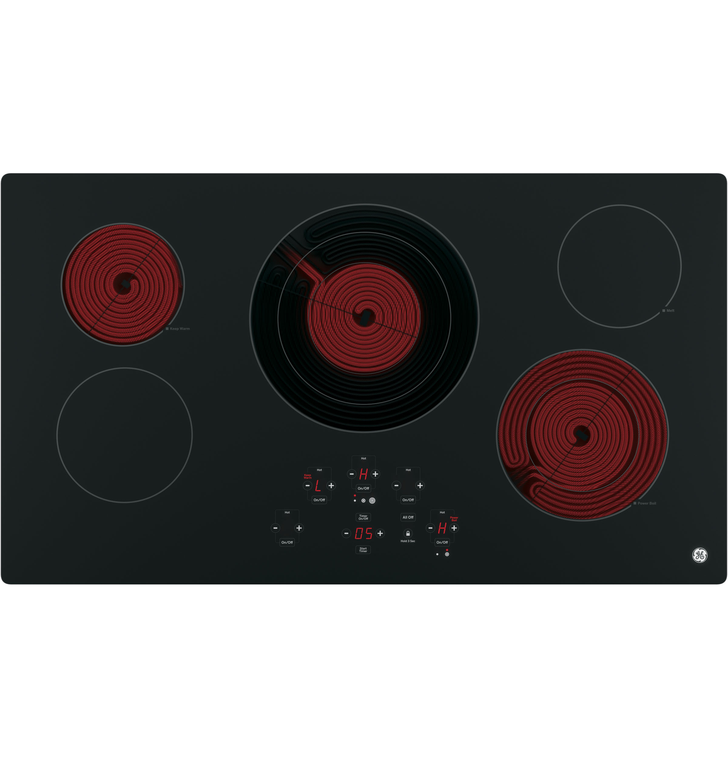 "Model: JP5036DJBB | GE GE® 36"" Built-In Touch Control Electric Cooktop"