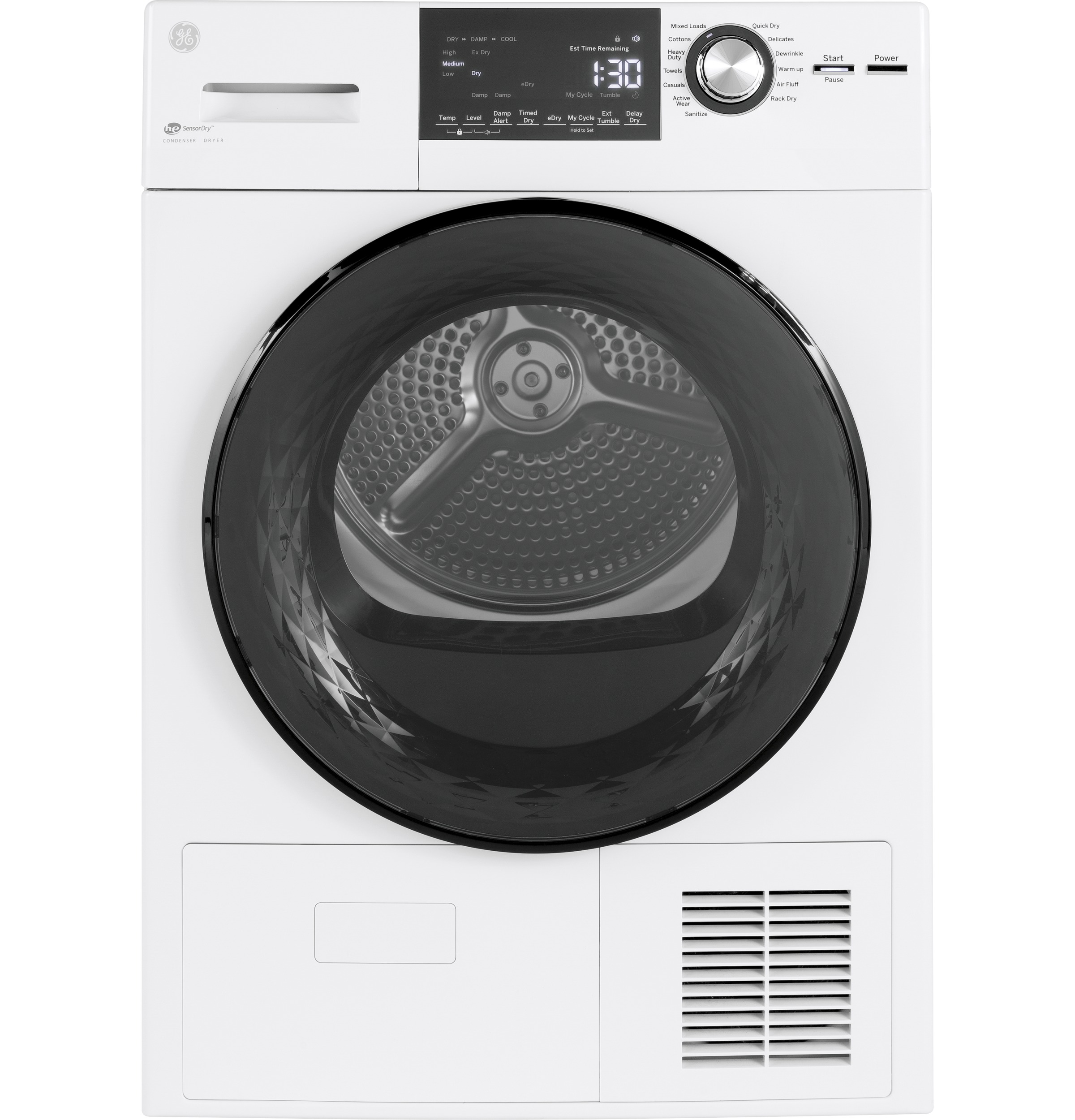 "GE GE® 24"" 4.1 Cu.Ft. Front Load Ventless Condenser Electric Dryer with Stainless Steel Basket"