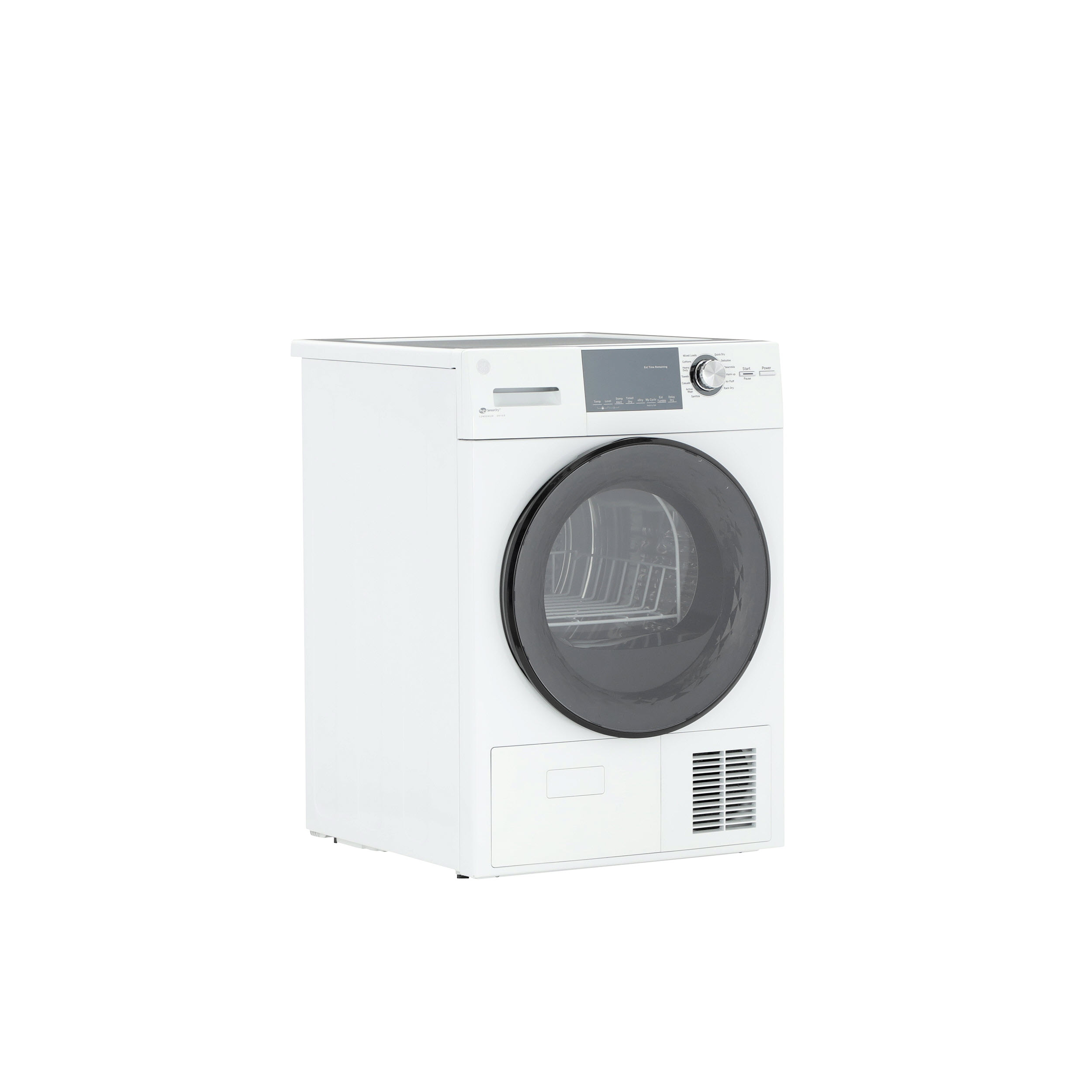 "Model: GFT14ESSMWW | GE GE® 24"" 4.1 Cu.Ft. Front Load Ventless Condenser Electric Dryer with Stainless Steel Basket"