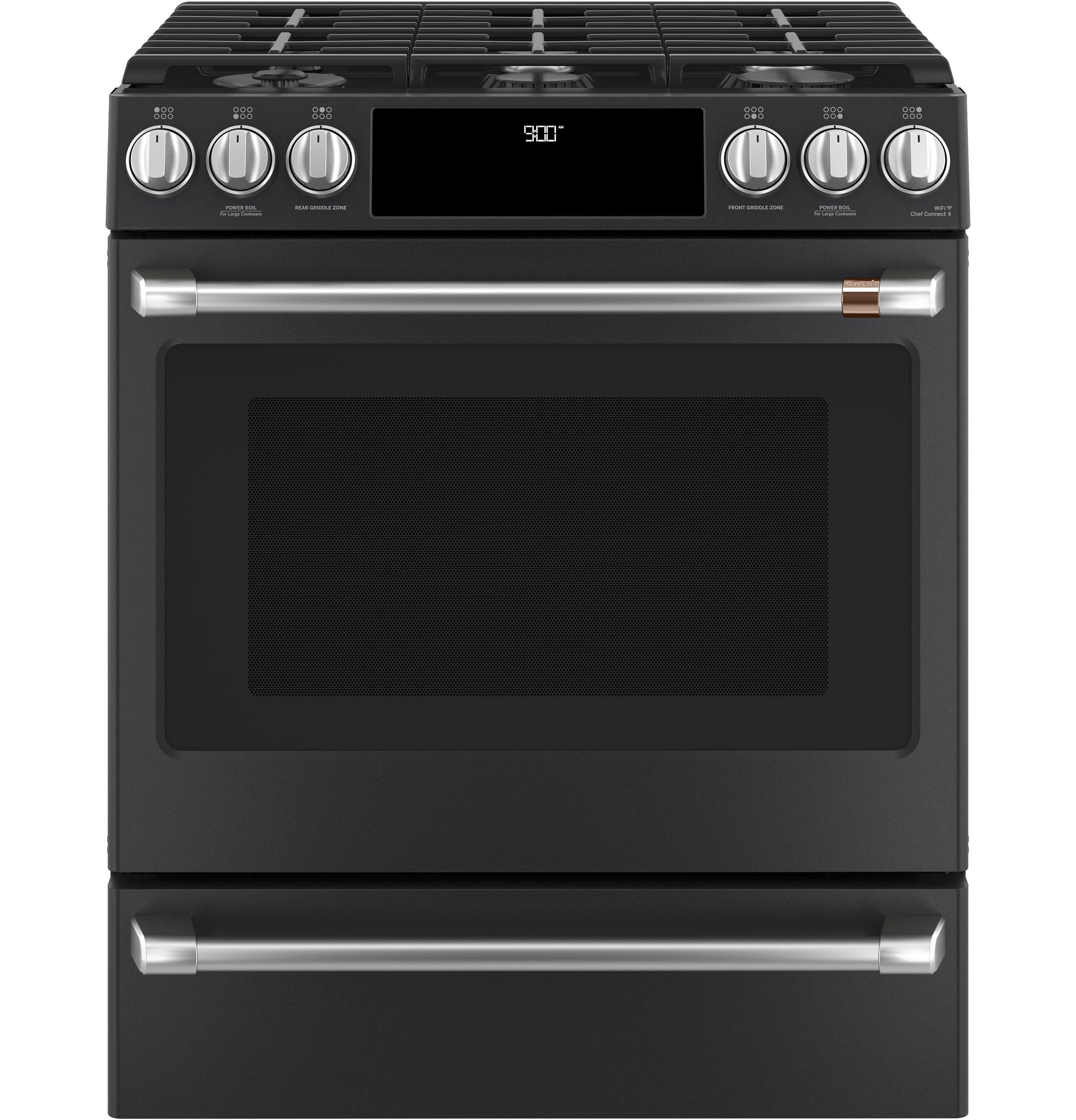 "Cafe Café™ 30"" Smart Slide-In, Front-Control, Dual-Fuel Range with Warming Drawer"