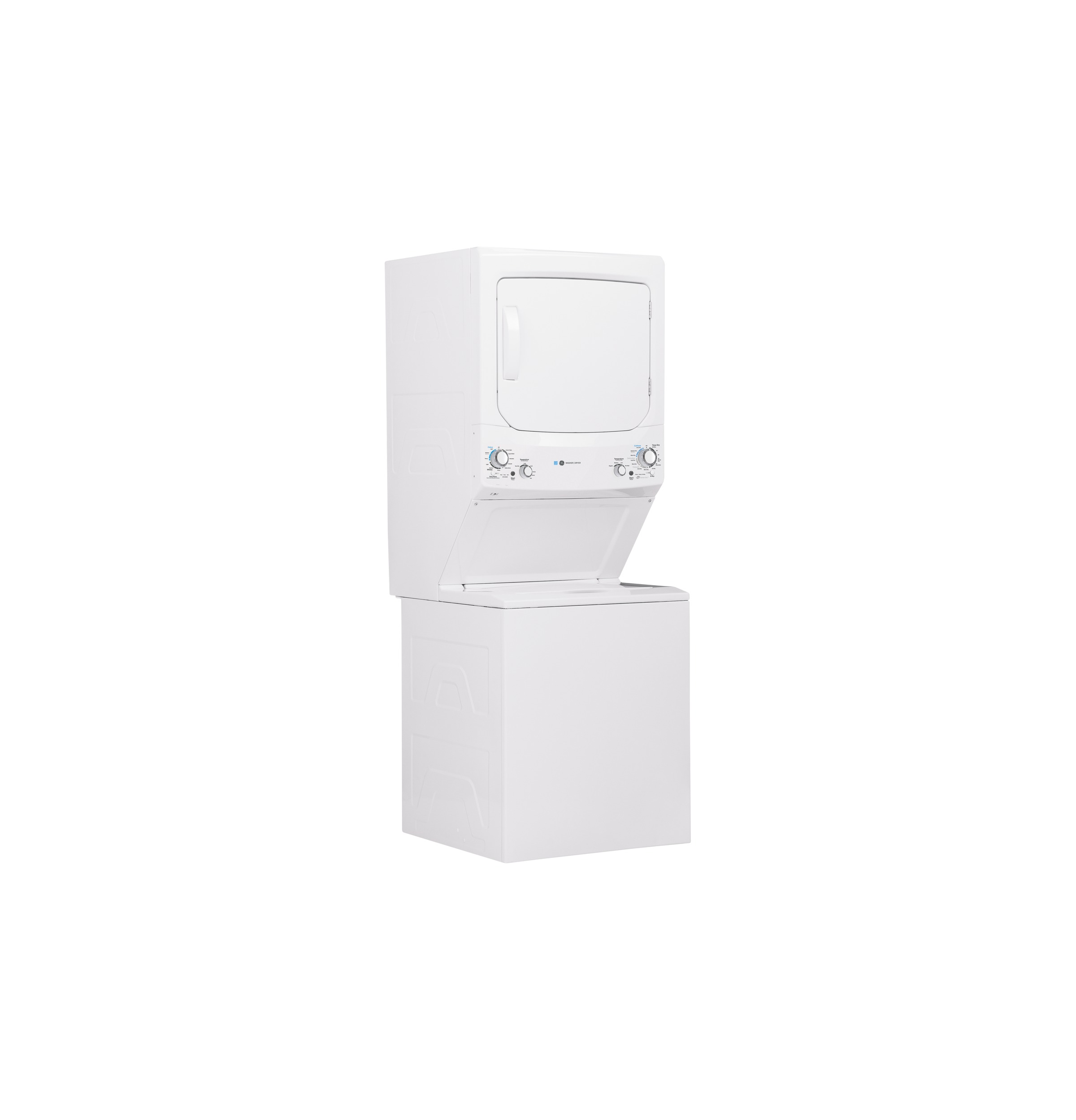 Model: GUD27EESNWW   GE GE Unitized Spacemaker® ENERGY STAR® 3.9 cu. ft. Capacity Washer with Stainless Steel Basket and 5.9 cu. ft. Capacity Electric Dryer