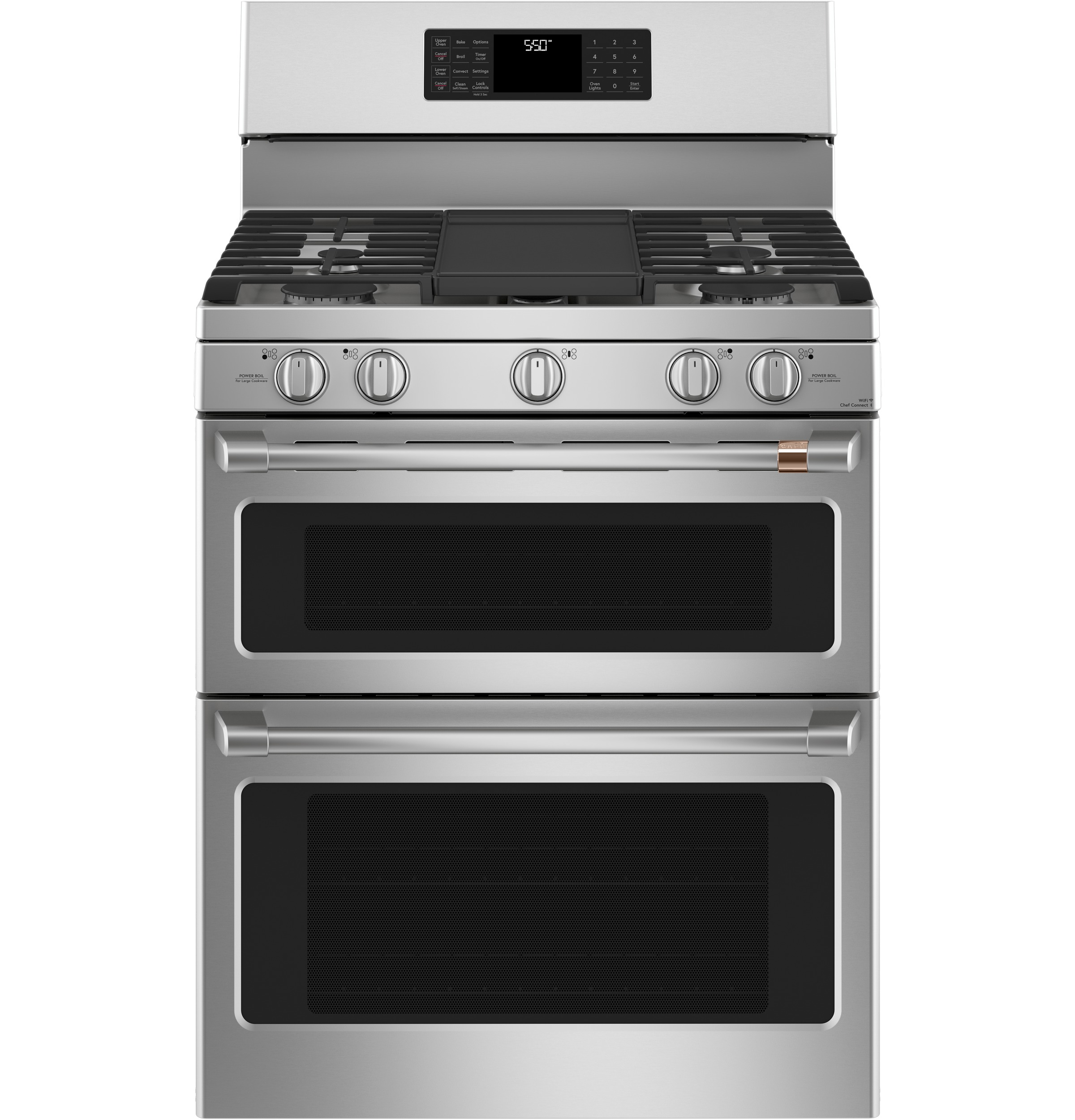 "Cafe Café™ 30"" Smart Free-Standing Gas Double-Oven Range with Convection"