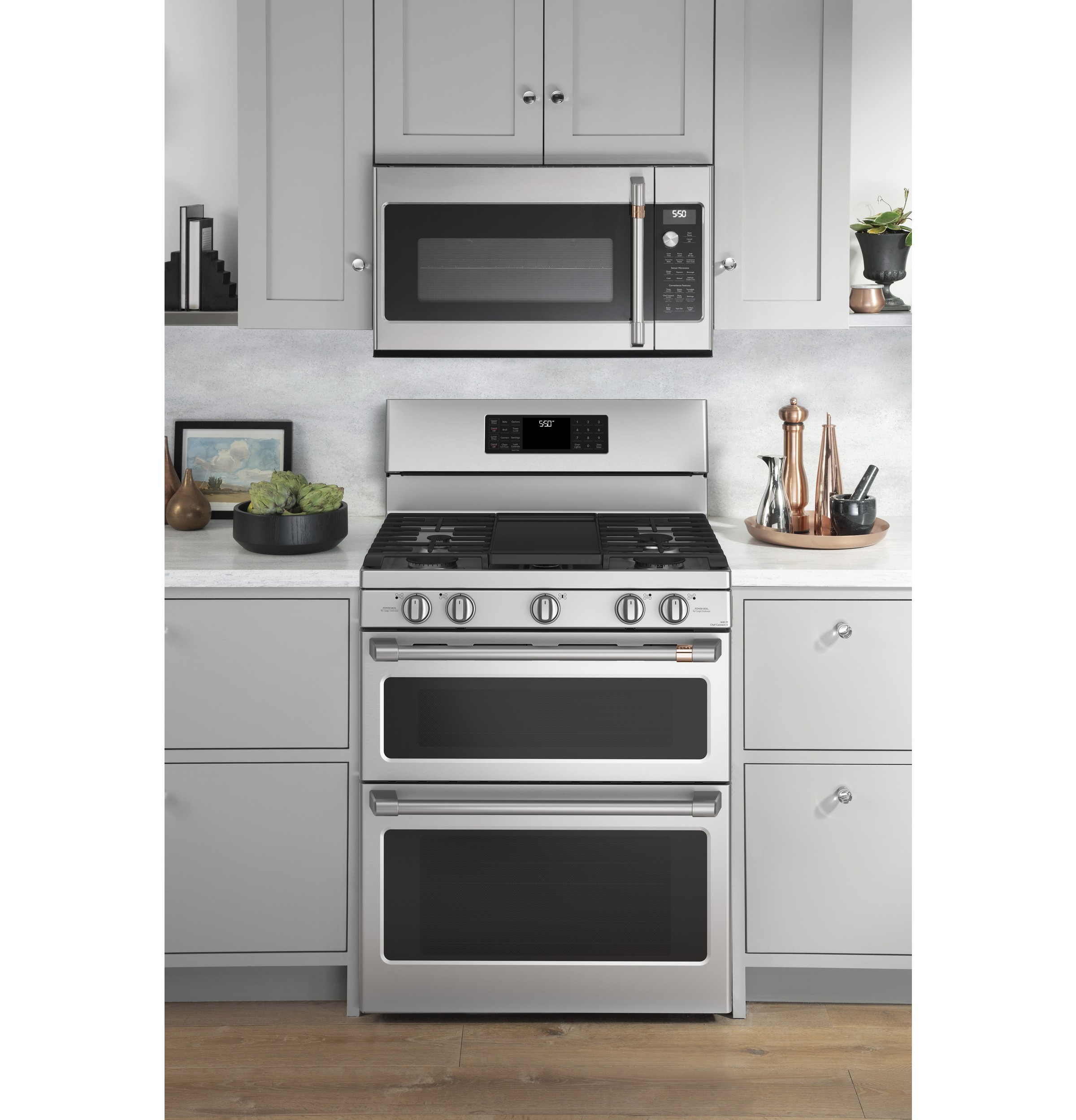 "Model: CGB550P2MS1 | Cafe Café™ 30"" Smart Free-Standing Gas Double-Oven Range with Convection"