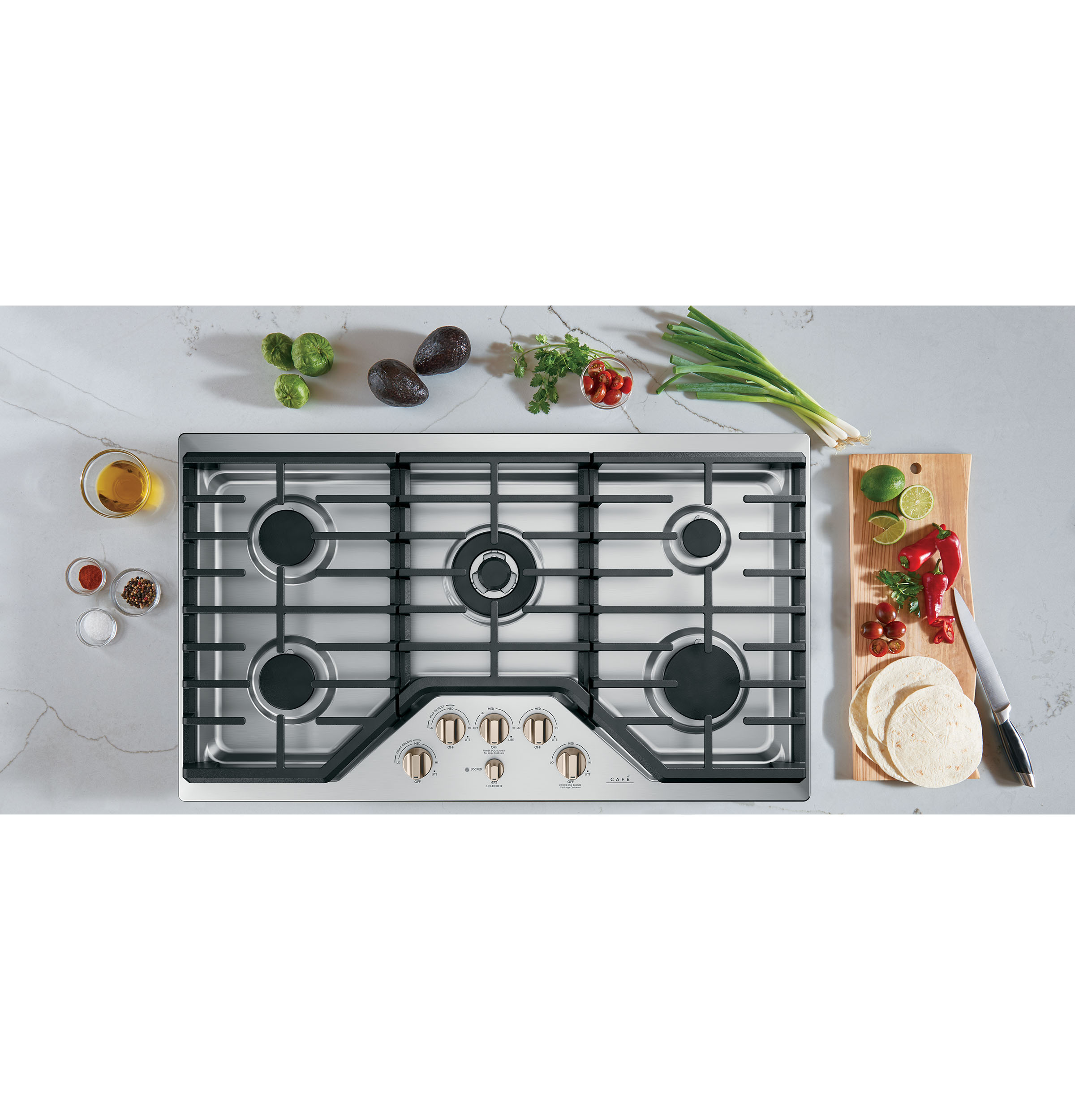 "Model: CGP95363MS2 | Cafe Café™ 36"" Gas Cooktop"