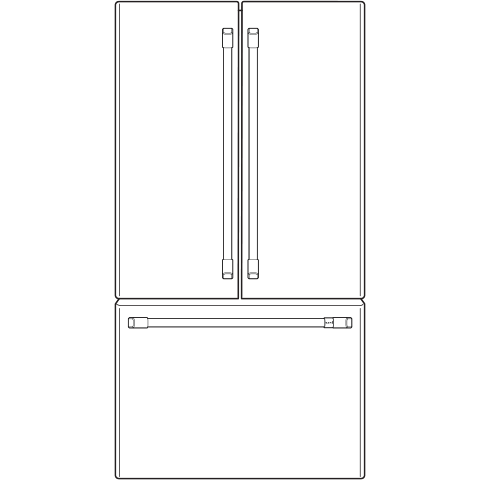 Model: CWE23SP4MW2 | Café™ ENERGY STAR® 23.1 Cu. Ft. Counter-Depth French-Door Refrigerator