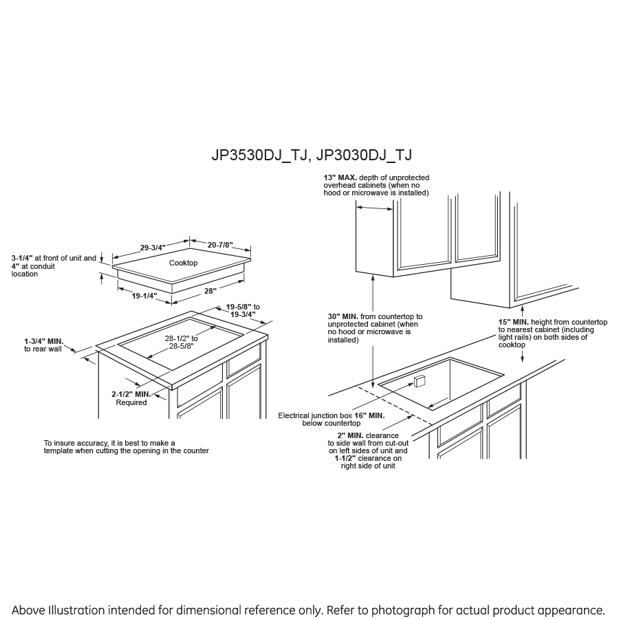 "Model: JP3530TJWW | GE GE® 30"" Built-In Knob Control Electric Cooktop"