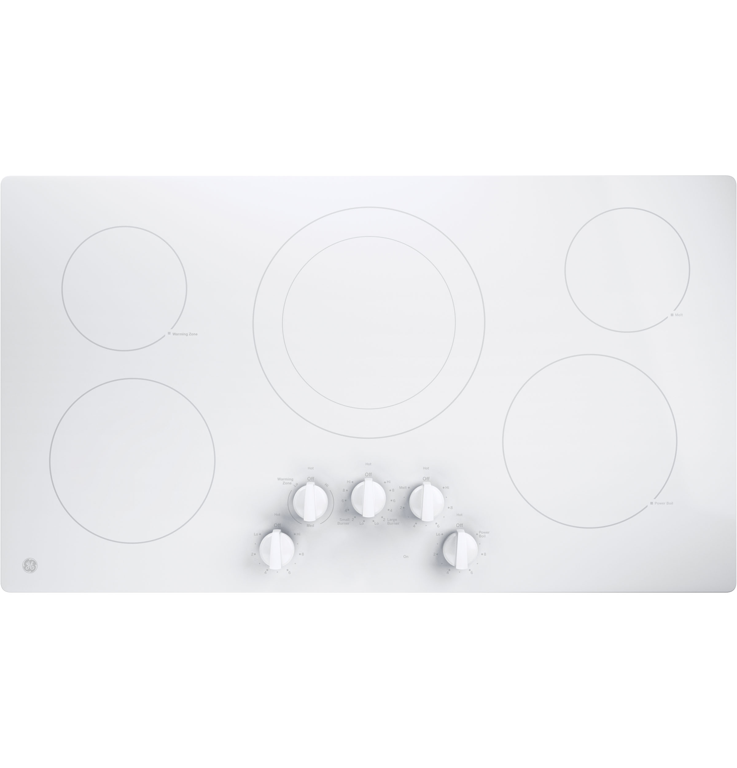 "Model: JP3036TLWW | GE GE® 36"" Built-In Knob Control Electric Cooktop"