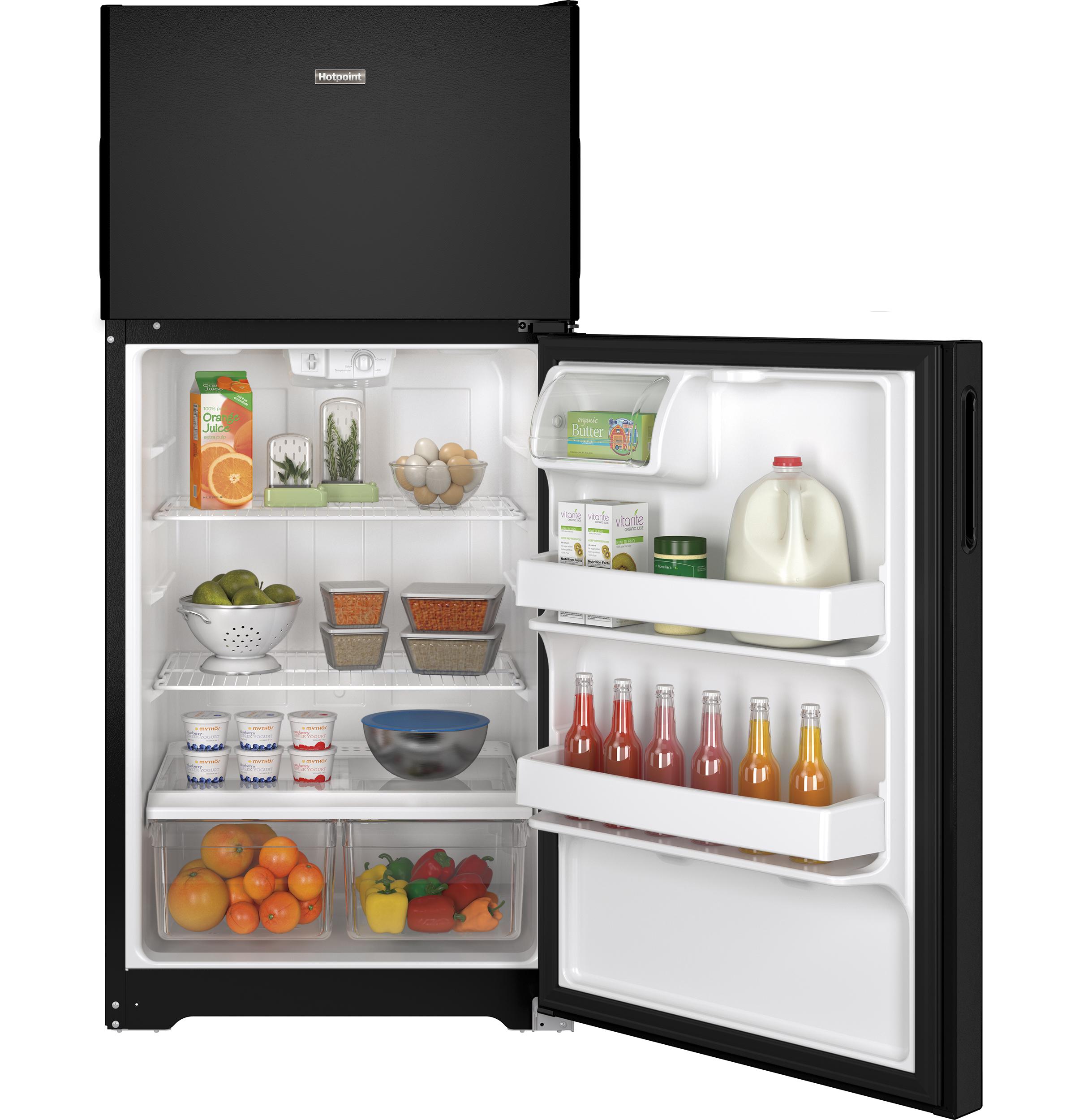 Model: HPS15BTHRBB | Hotpoint Hotpoint® 14.6 Cu. Ft. Recessed Handle Top-Freezer Refrigerator