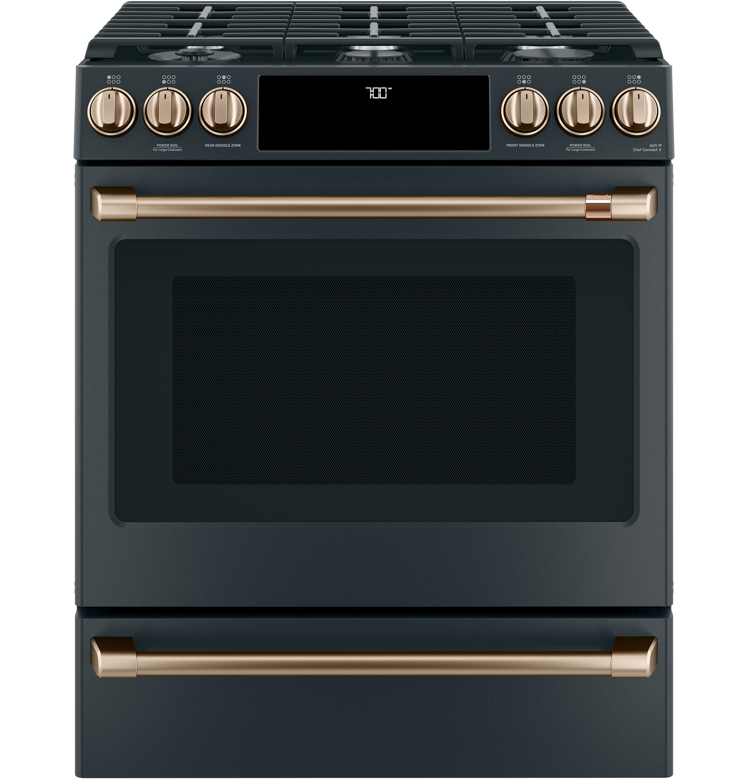 "Model: CGS700P3MD1 | Cafe Café™ 30"" Smart Slide-In, Front-Control, Gas Range with Convection Oven"