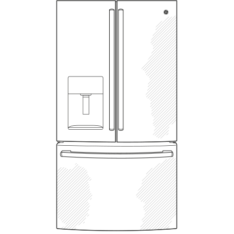 Model: GYE18JBLTS | GE® ENERGY STAR® 17.5 Cu. Ft. Counter-Depth French-Door Refrigerator