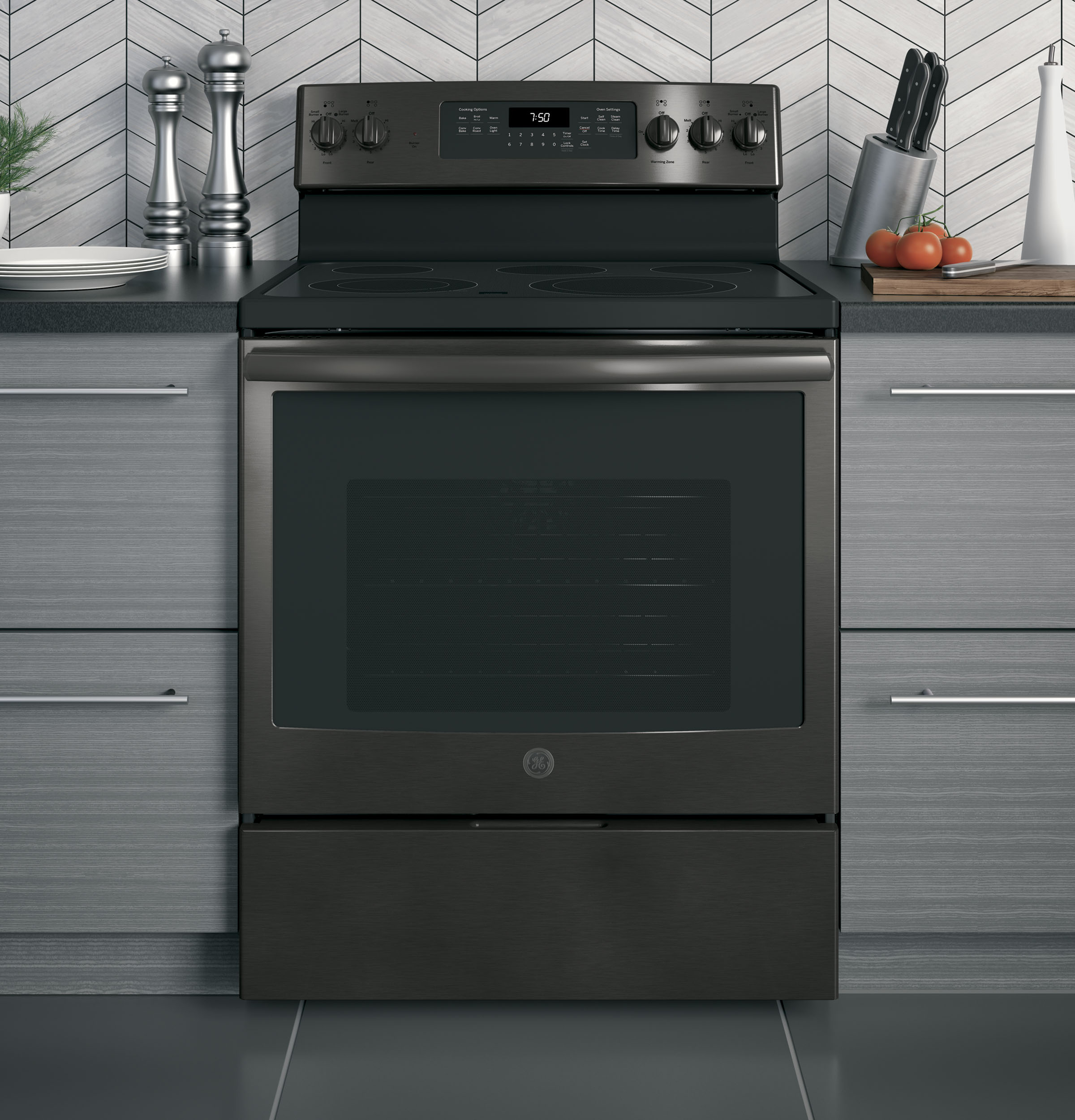 "Model: JB750BJTS | GE GE® 30"" Free-Standing Electric Convection Range"