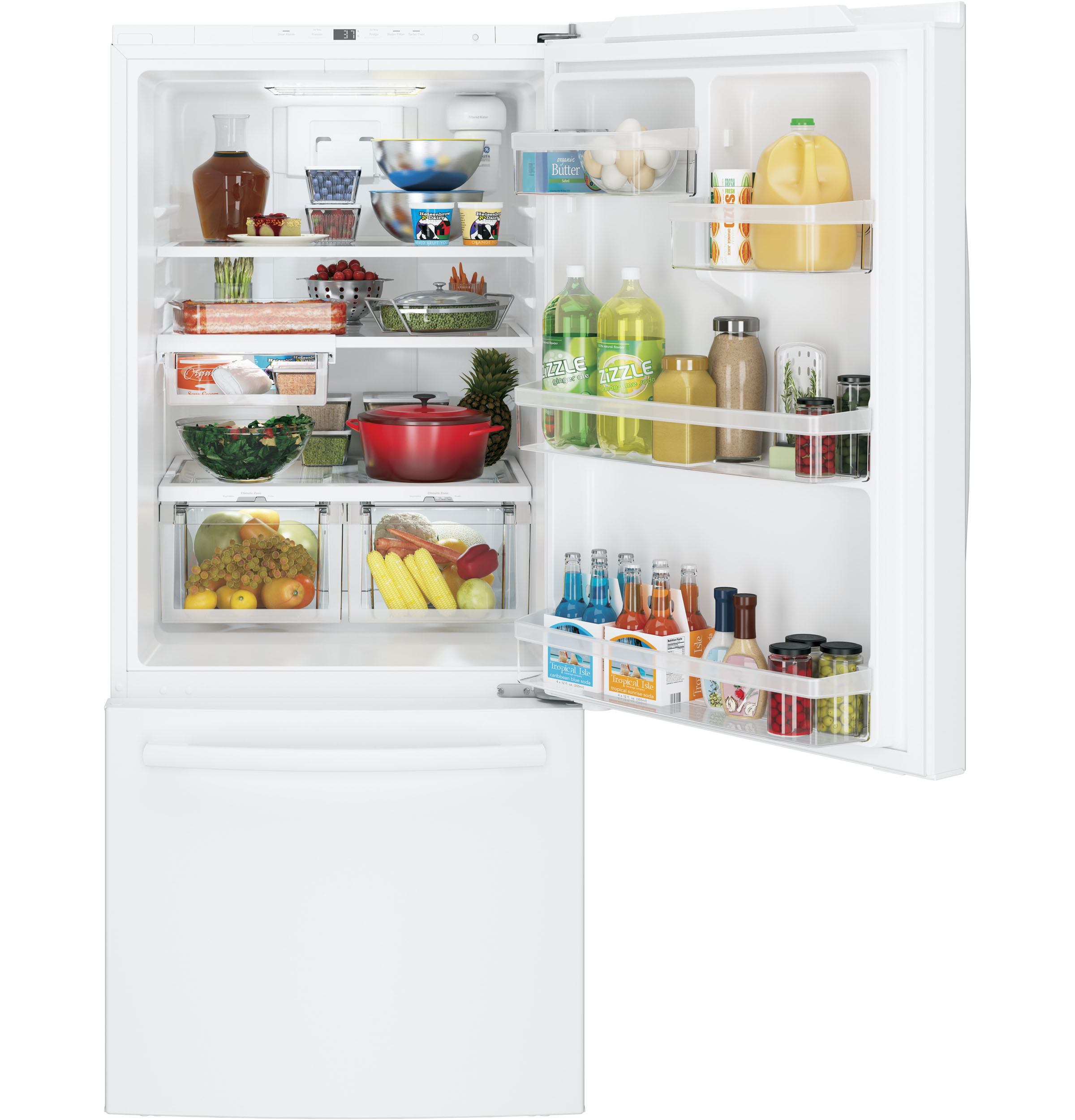 Model: GDE21EGKWW | GE GE® ENERGY STAR® 21.0 Cu. Ft. Bottom-Freezer Refrigerator