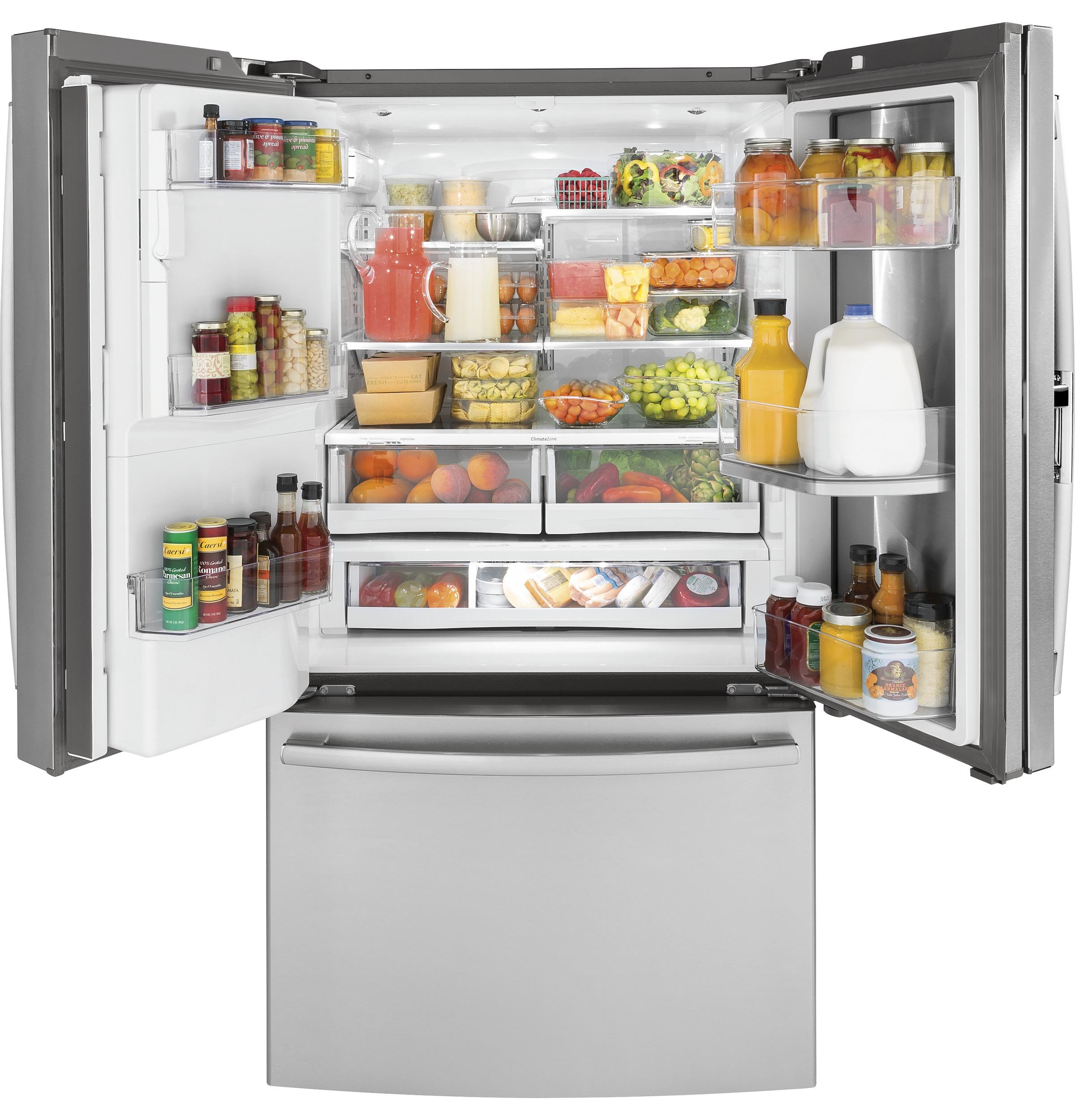 Model: PYD22KSLSS | GE Profile™ Series 22.2 Cu. Ft. Counter-Depth French-Door Refrigerator with Door In Door and Hands-Free AutoFill